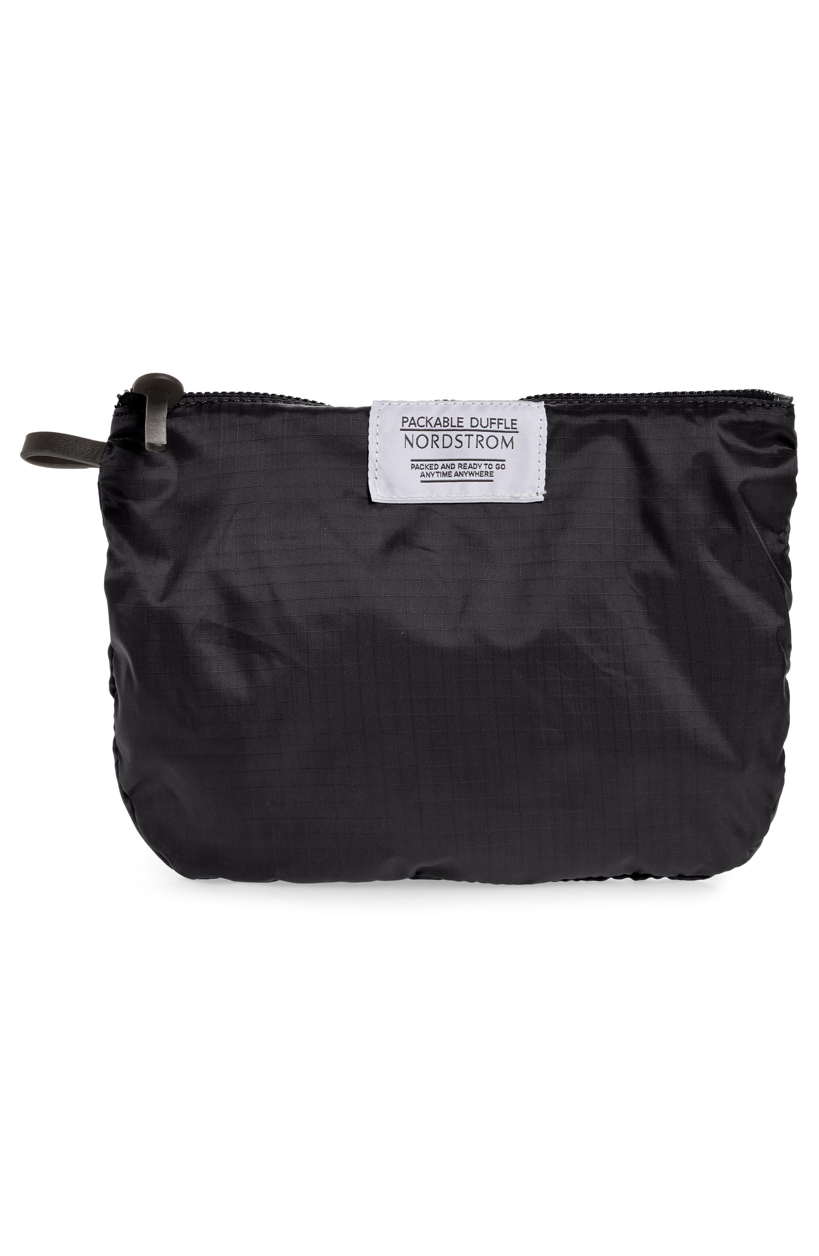 NORDSTROM, Packable Nylon Duffel Bag, Alternate thumbnail 8, color, BLACK