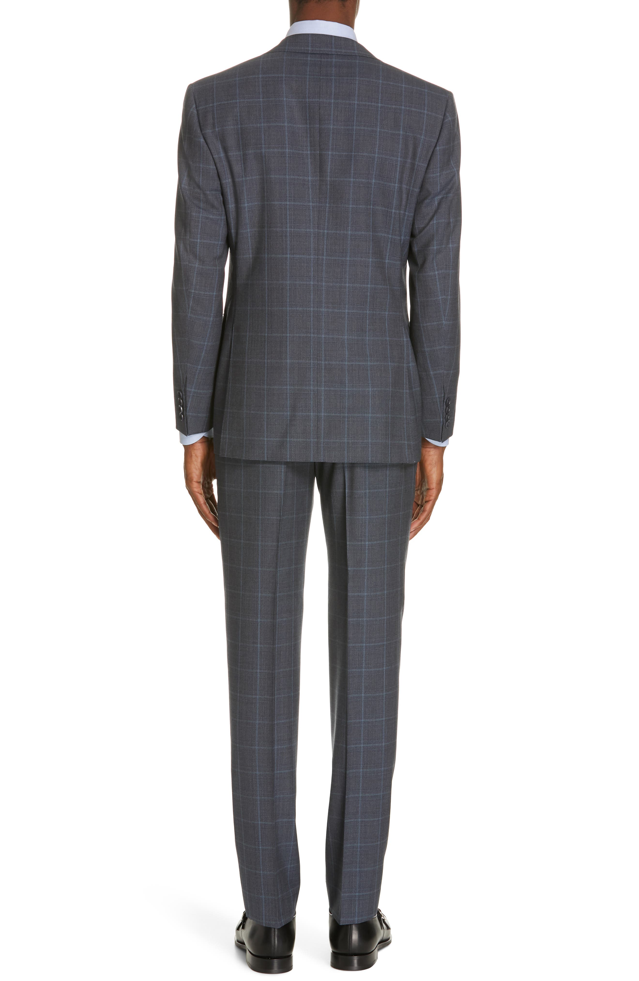 CANALI, Siena Soft Classic Fit Plaid Wool Suit, Alternate thumbnail 2, color, CHARCOAL
