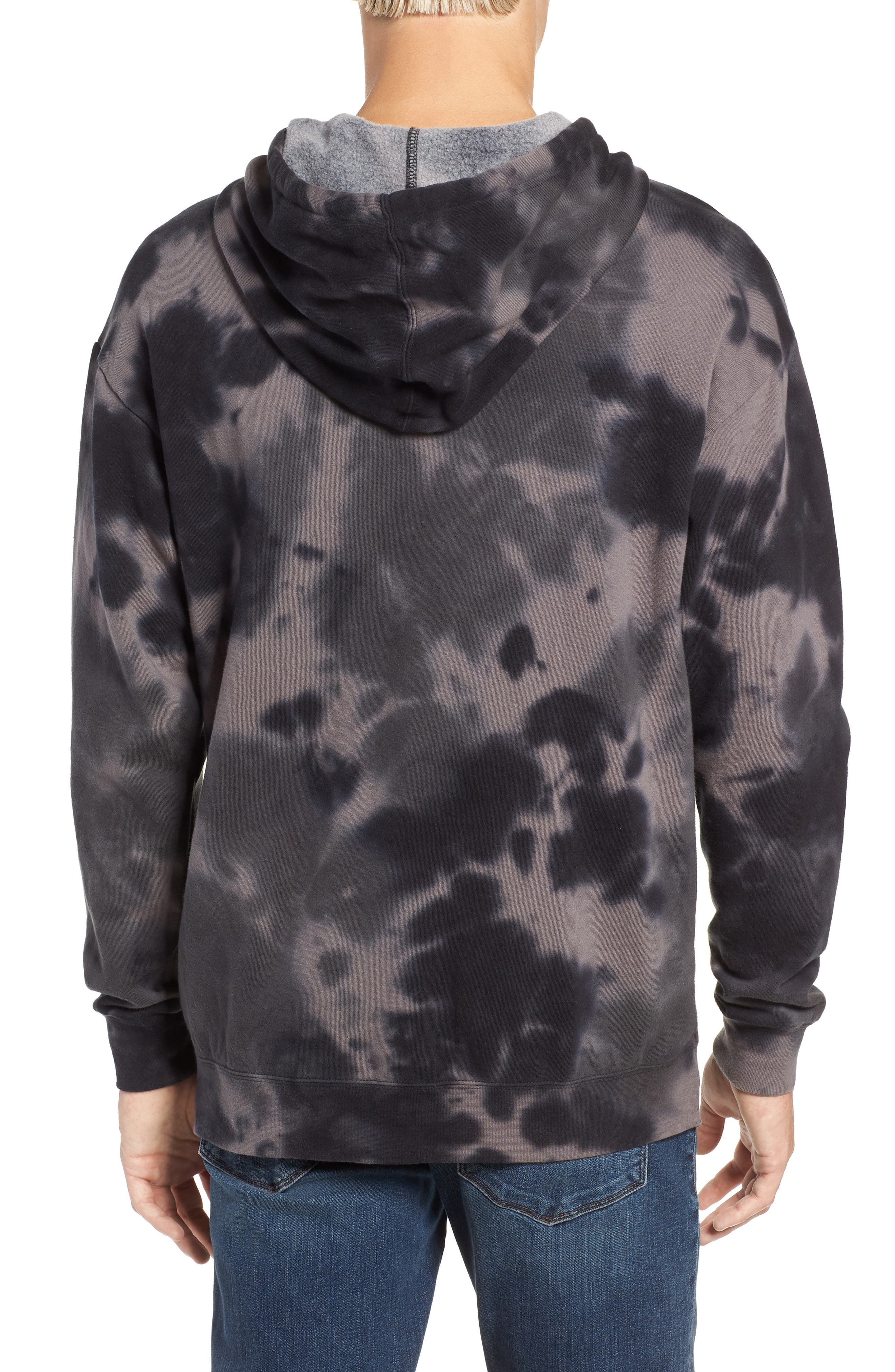 RVCA, Spatter Dyed Pullover Hoodie, Alternate thumbnail 2, color, BLACK