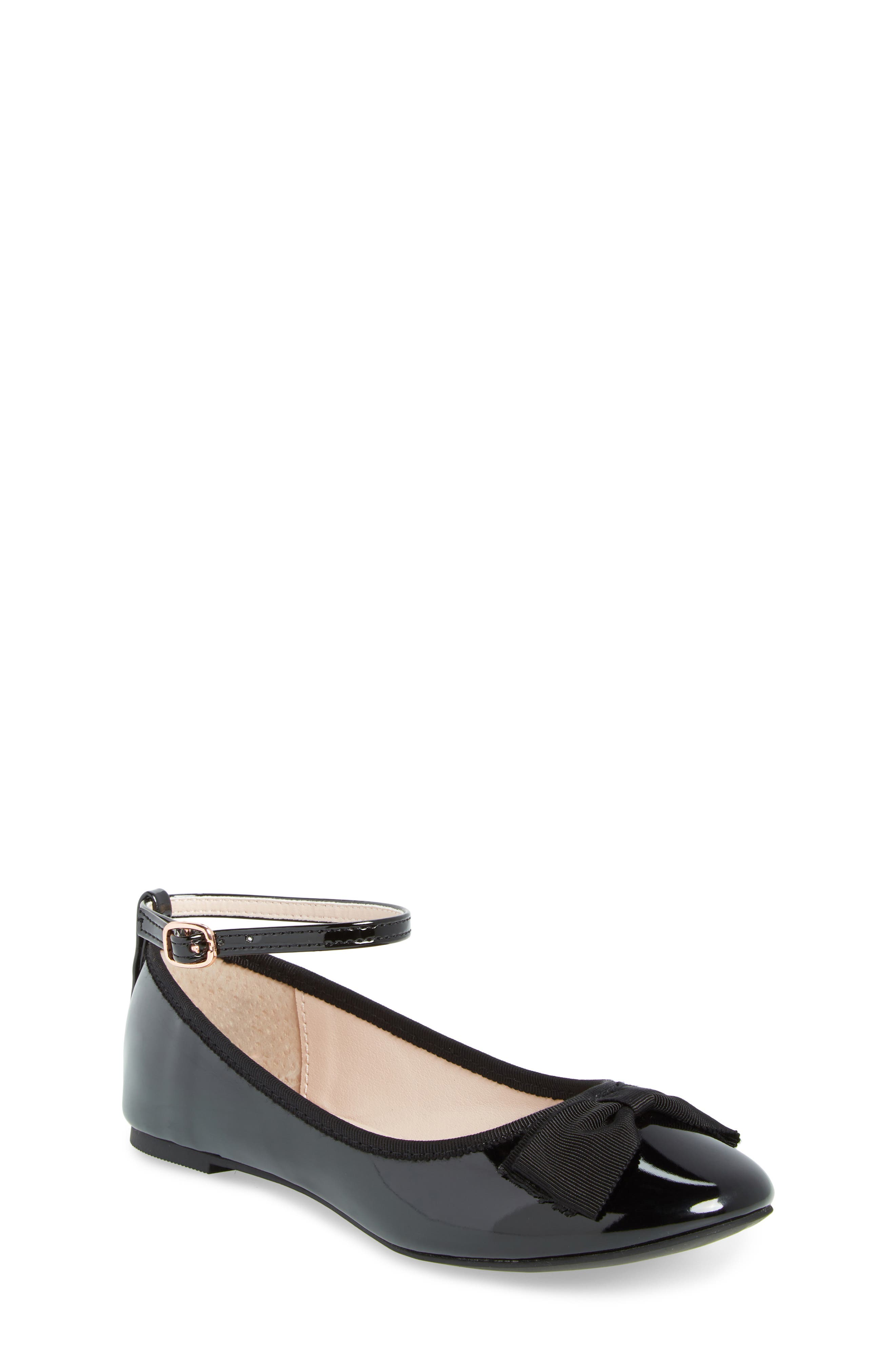RUBY & BLOOM, Pipa Ankle Strap Ballet Flat, Main thumbnail 1, color, BLACK FAUX PATENT