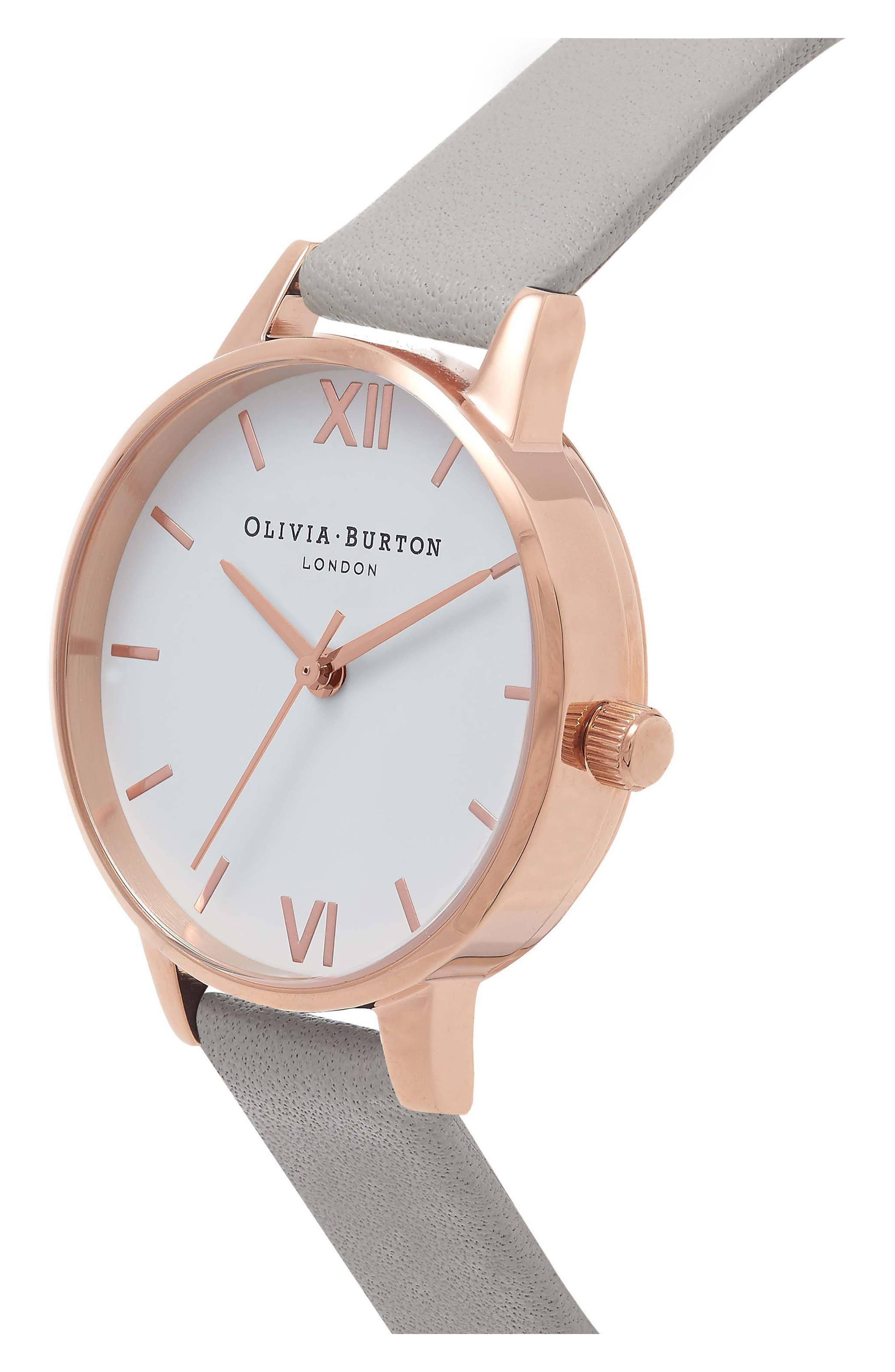 OLIVIA BURTON, Midi Dial Leather Strap Watch, 30mm, Alternate thumbnail 4, color, GREY/ WHITE/ ROSE GOLD