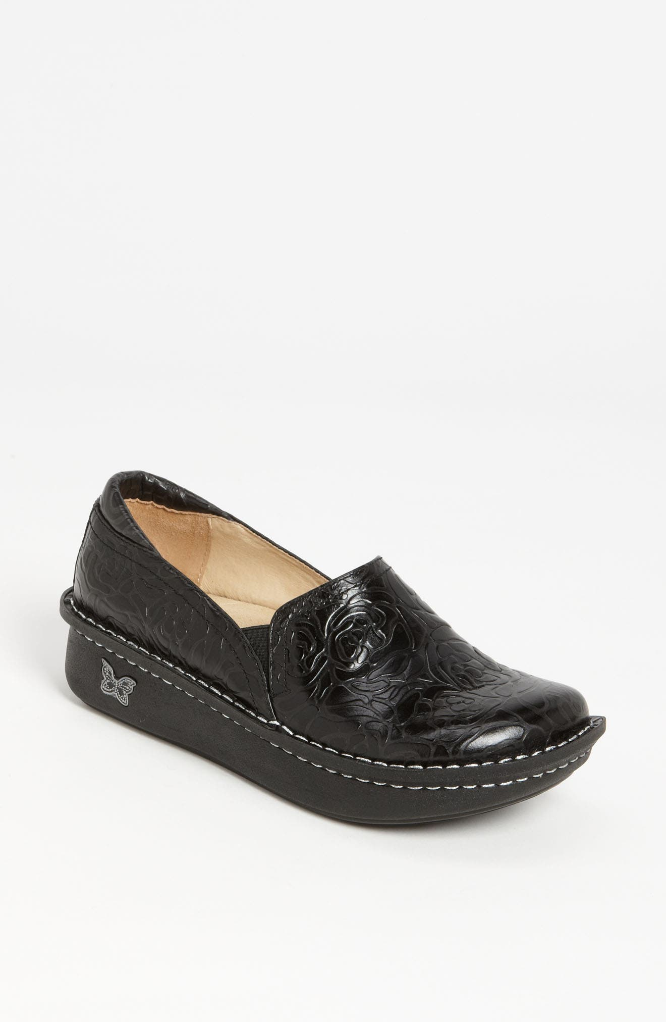 ALEGRIA, 'Debra' Slip-On, Main thumbnail 1, color, BLACK EMBOSSED ROSE LEATHER