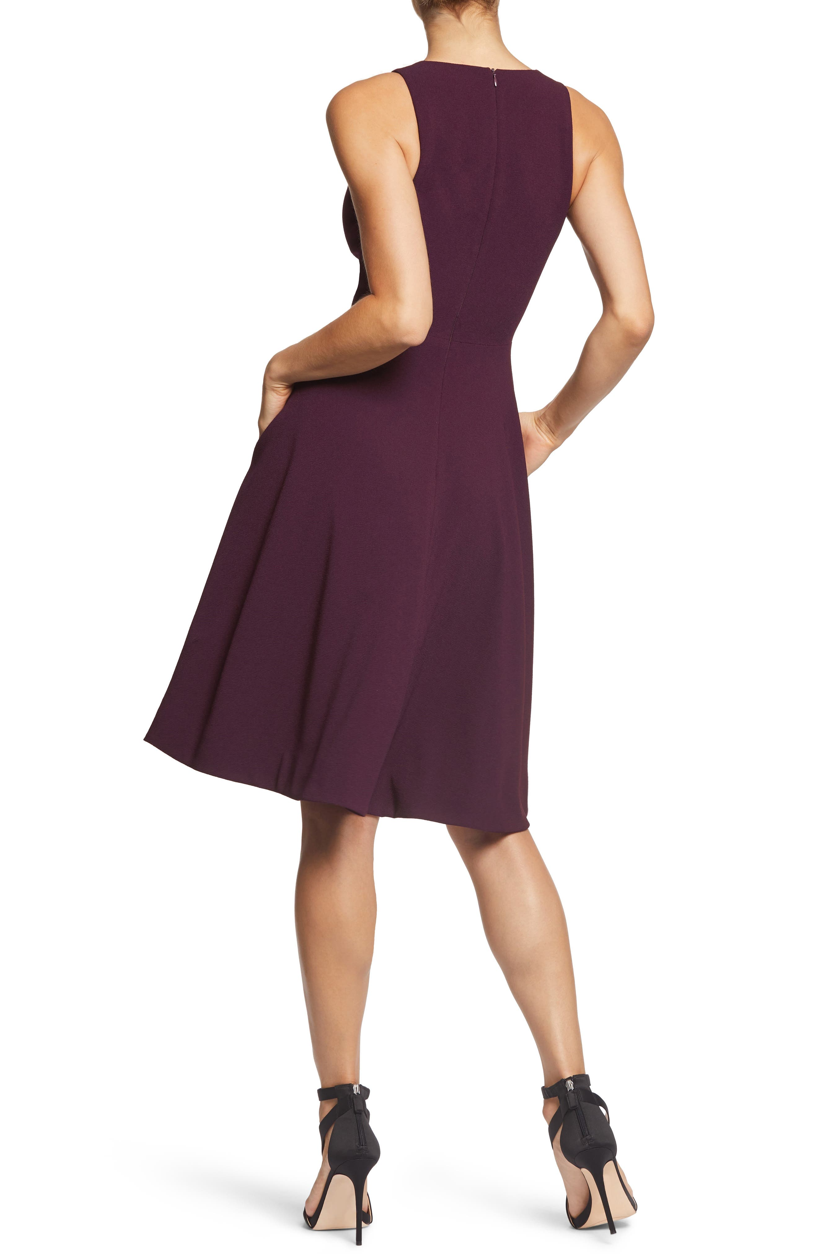DRESS THE POPULATION, Catalina Tea Length Fit & Flare Dress, Alternate thumbnail 2, color, PLUM