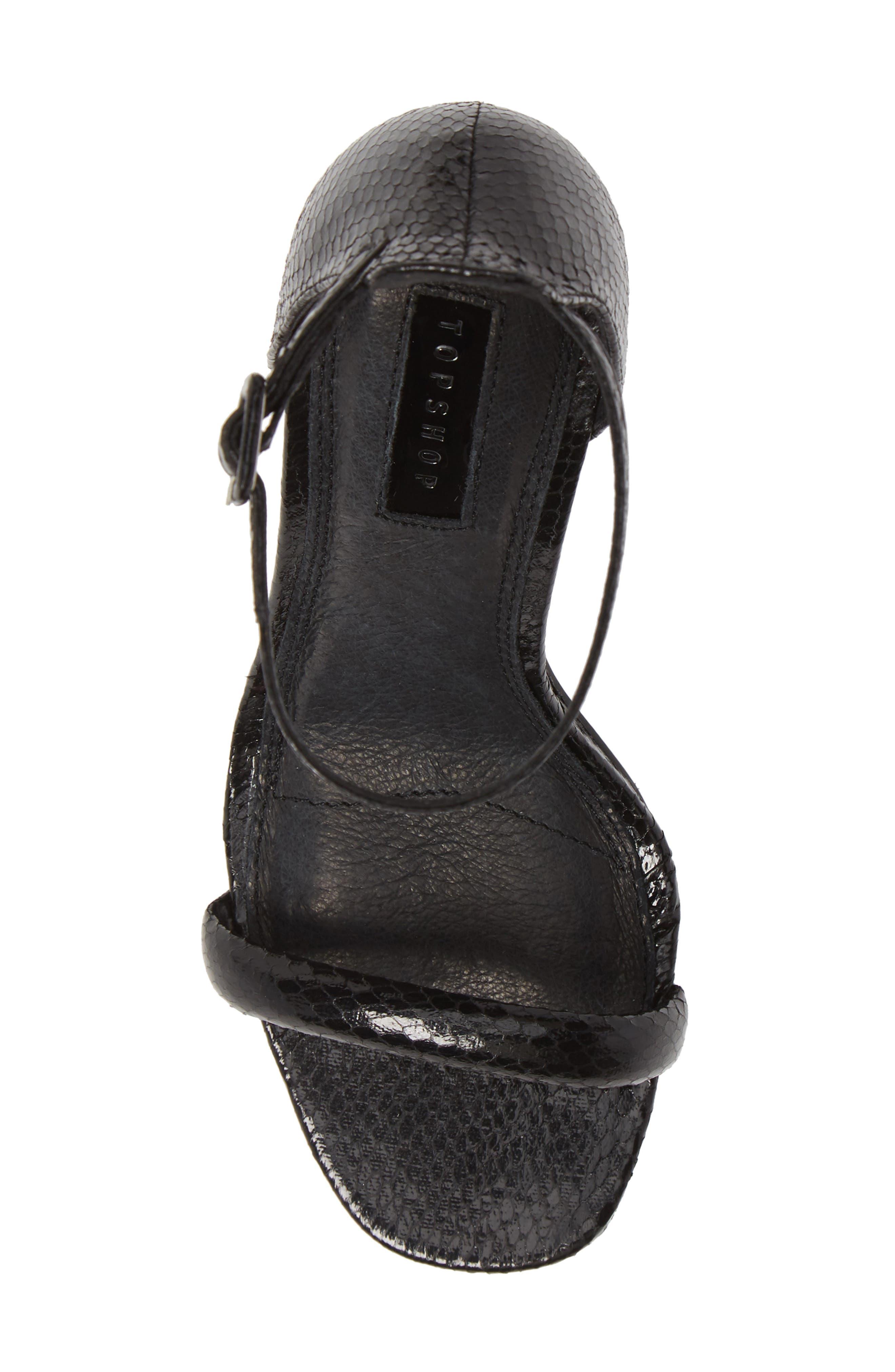 TOPSHOP, Robyn Ankle Strap Sandal, Alternate thumbnail 5, color, BLACK
