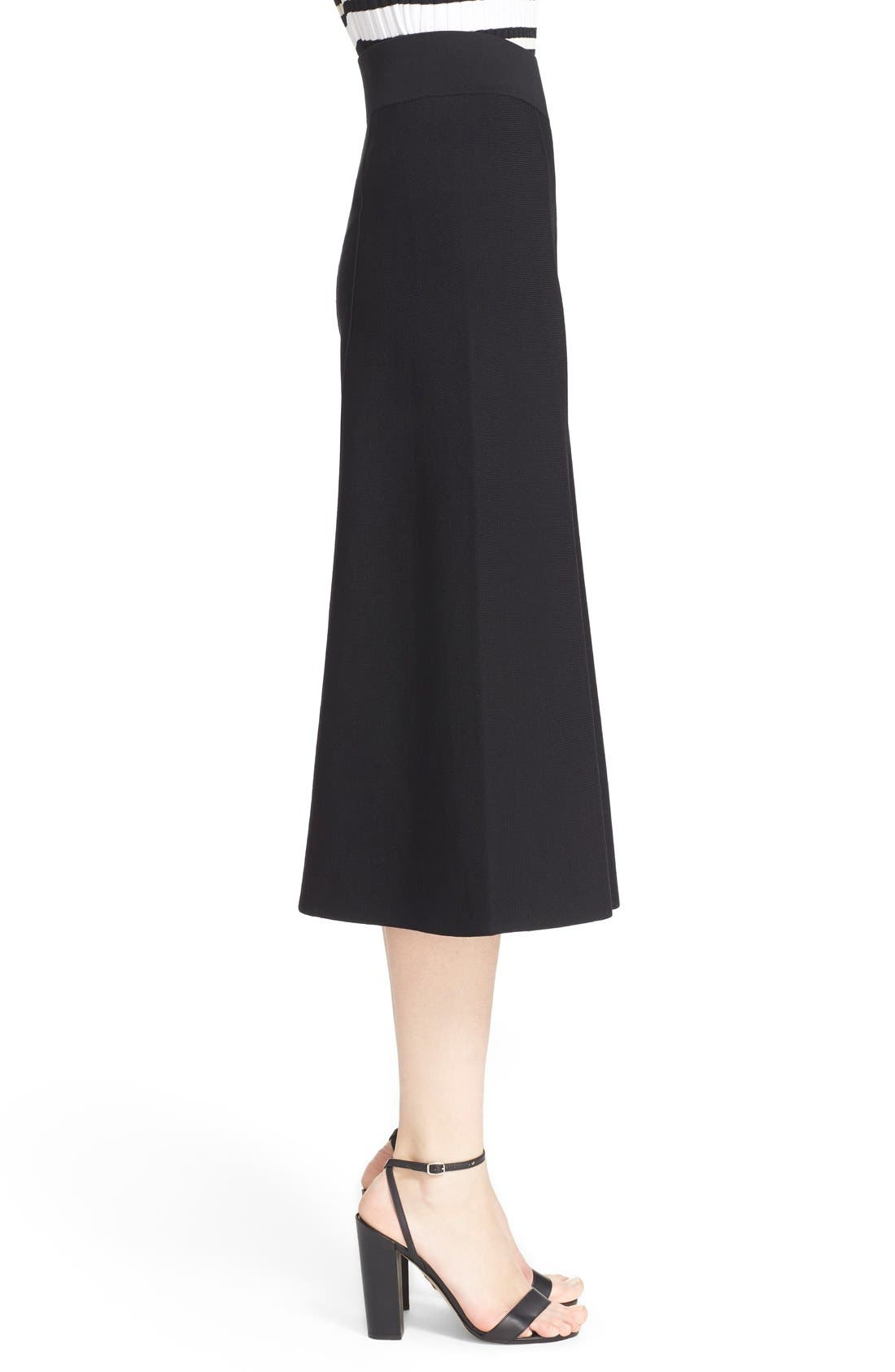 MILLY, Knit Culottes, Alternate thumbnail 4, color, 001