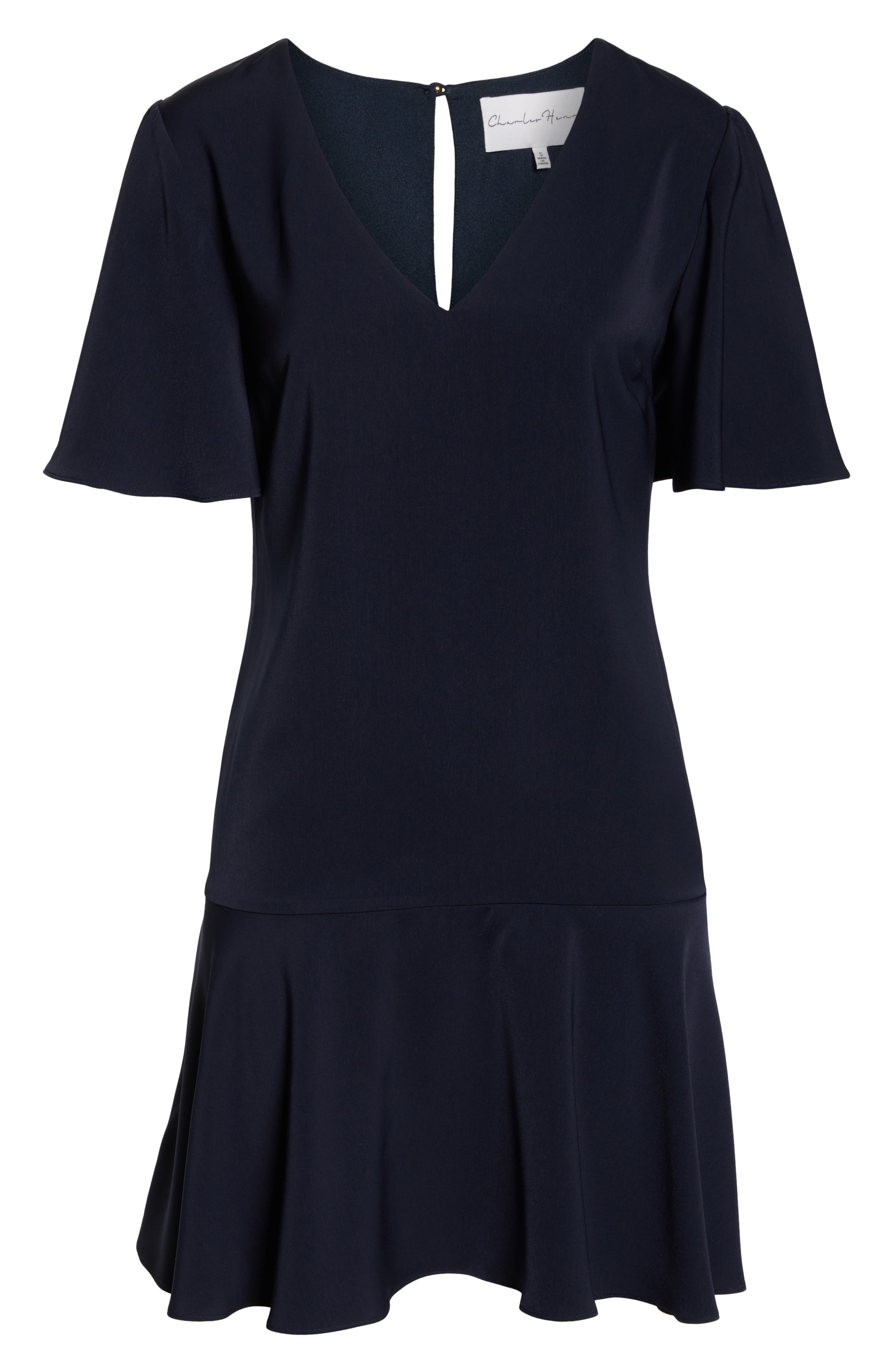 CHARLES HENRY, Flutter Sleeve Shift Dress, Alternate thumbnail 7, color, NAVY