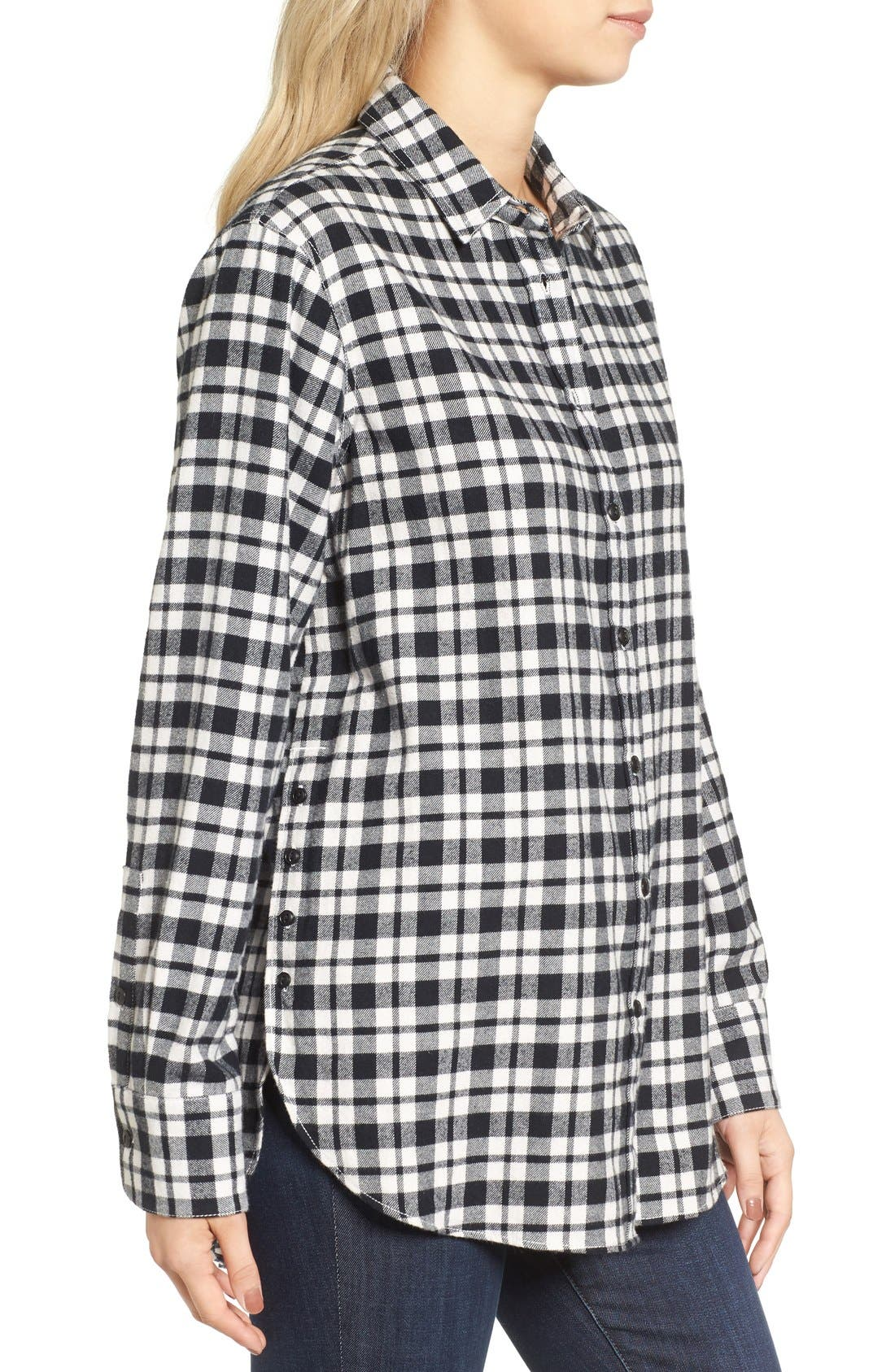MADEWELL, Oversize Flannel Shirt, Alternate thumbnail 8, color, 002