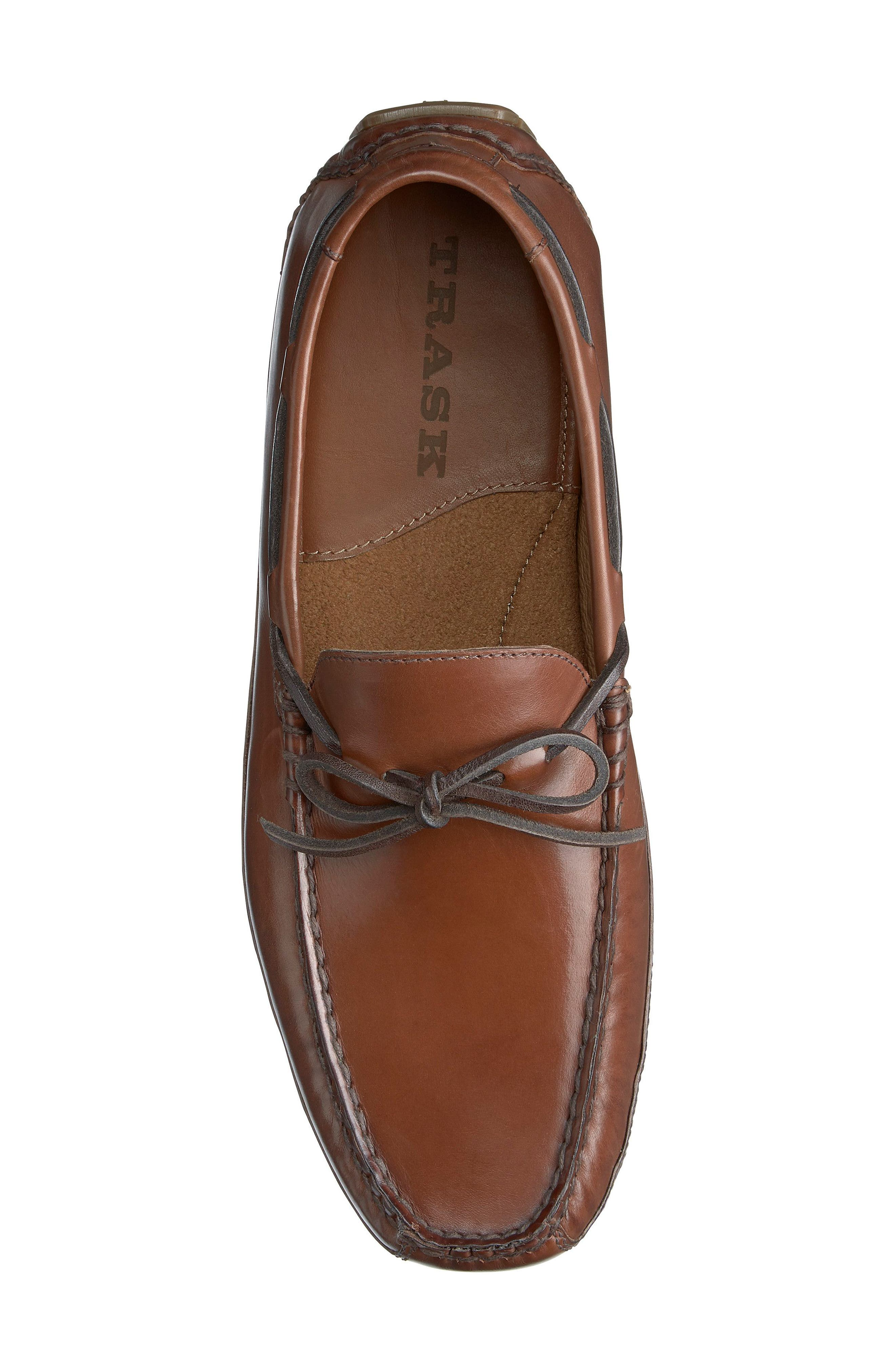 TRASK, Dillion Driving Loafer, Alternate thumbnail 4, color, BROWN LEATHER