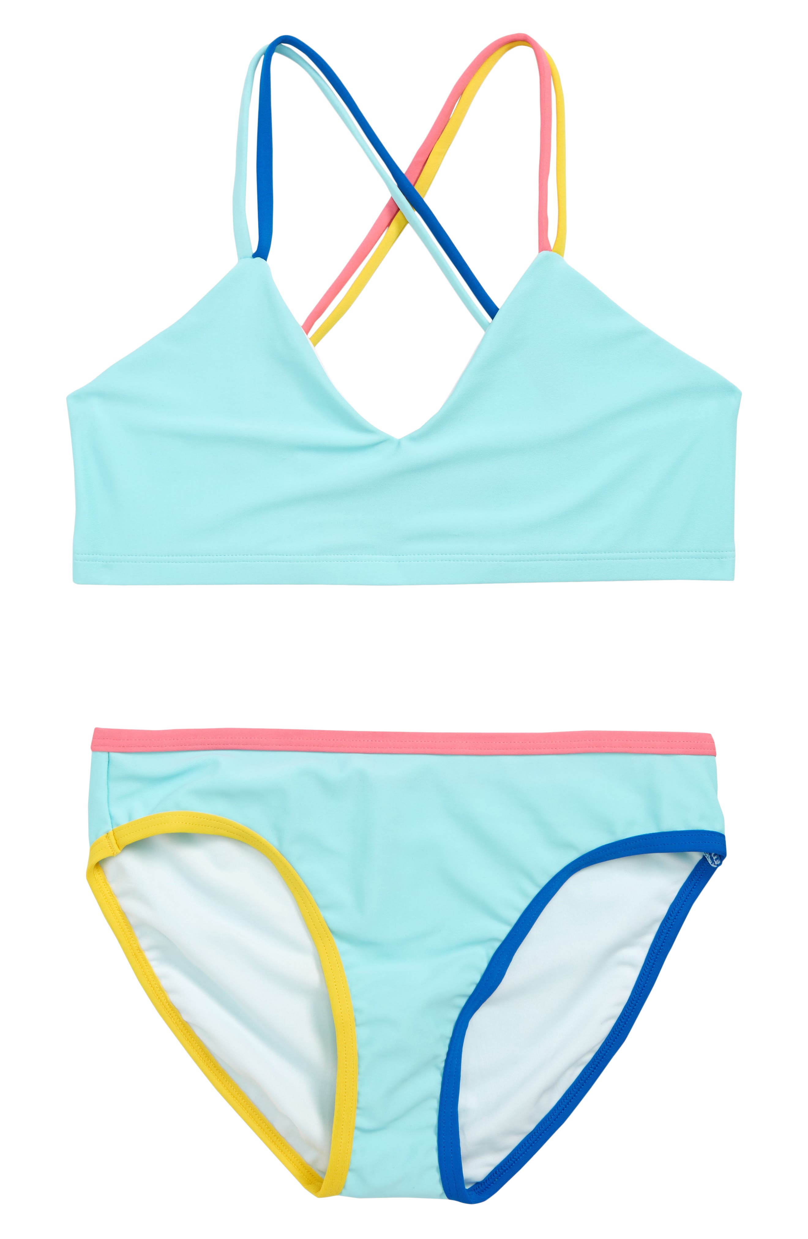 Girls Tucker  Tate Colorblock Trim TwoPiece Swimsuit Size 8  Bluegreen