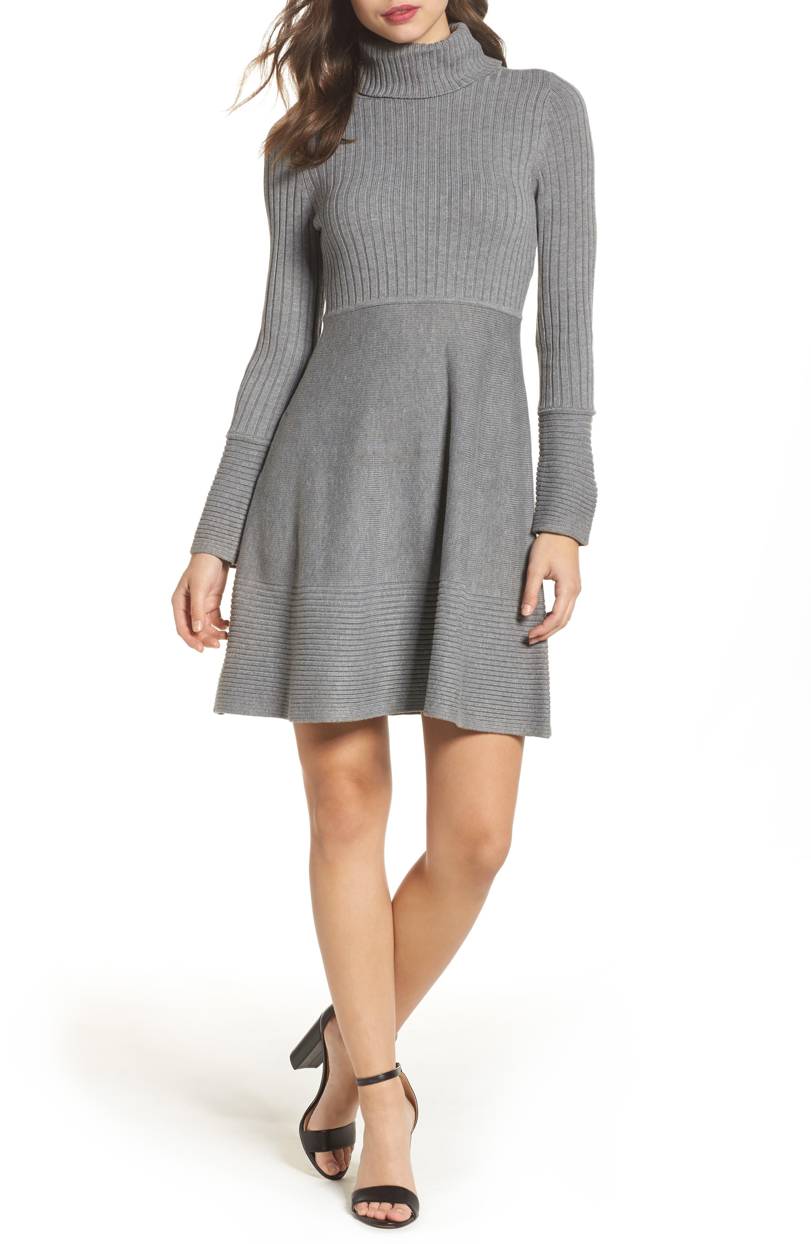 ELIZA J, Turtleneck Sweater Dress, Alternate thumbnail 6, color, GREY