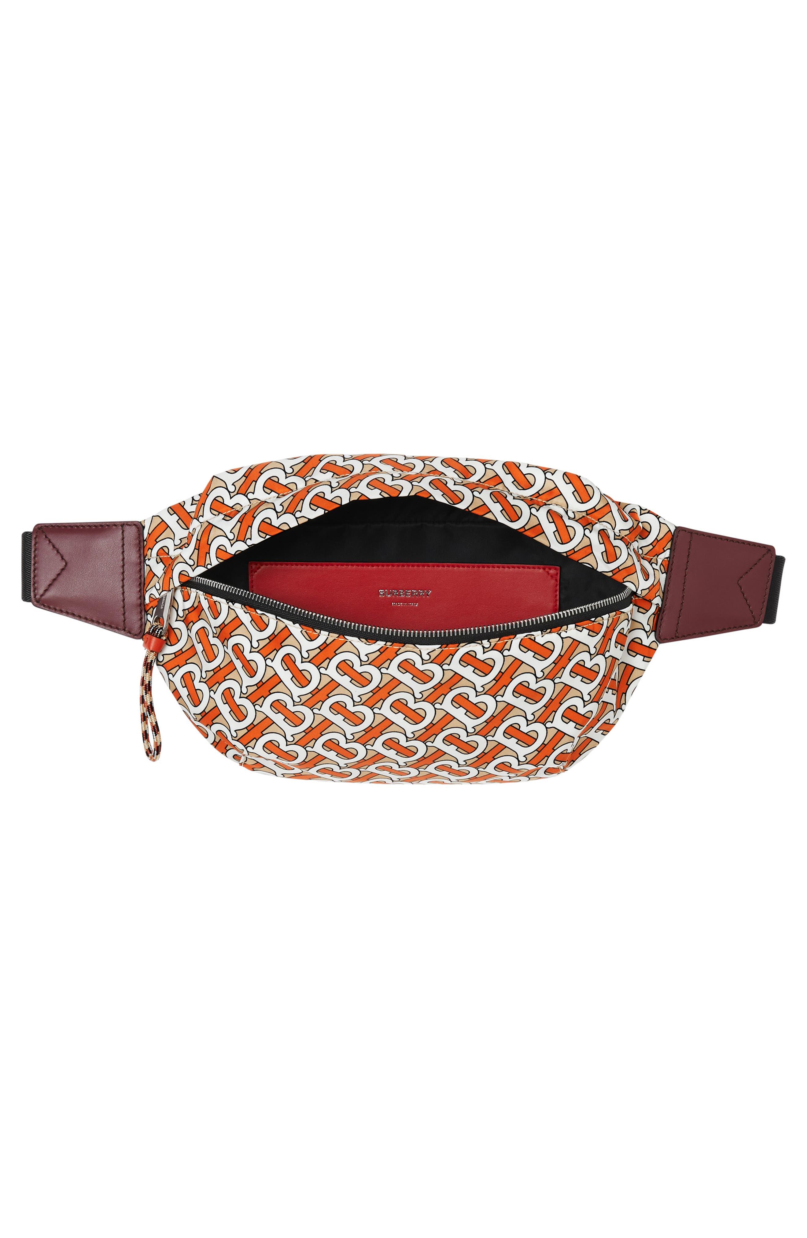 BURBERRY, Sonny Monogram Nylon Belt Bag, Alternate thumbnail 4, color, VERMILLION