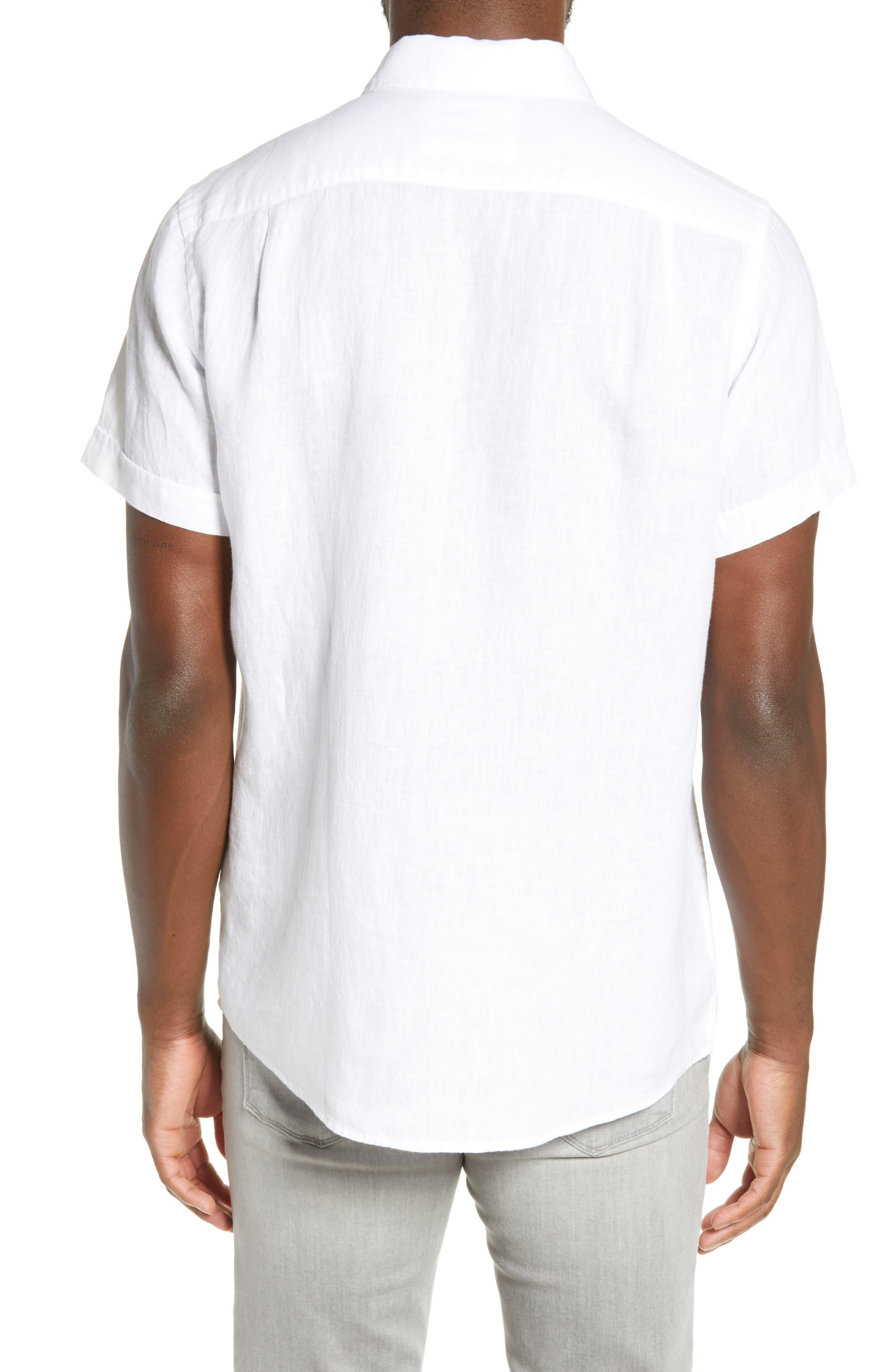 RODD & GUNN, Regular Fit Ellerslie Linen Shirt, Alternate thumbnail 3, color, IVORY