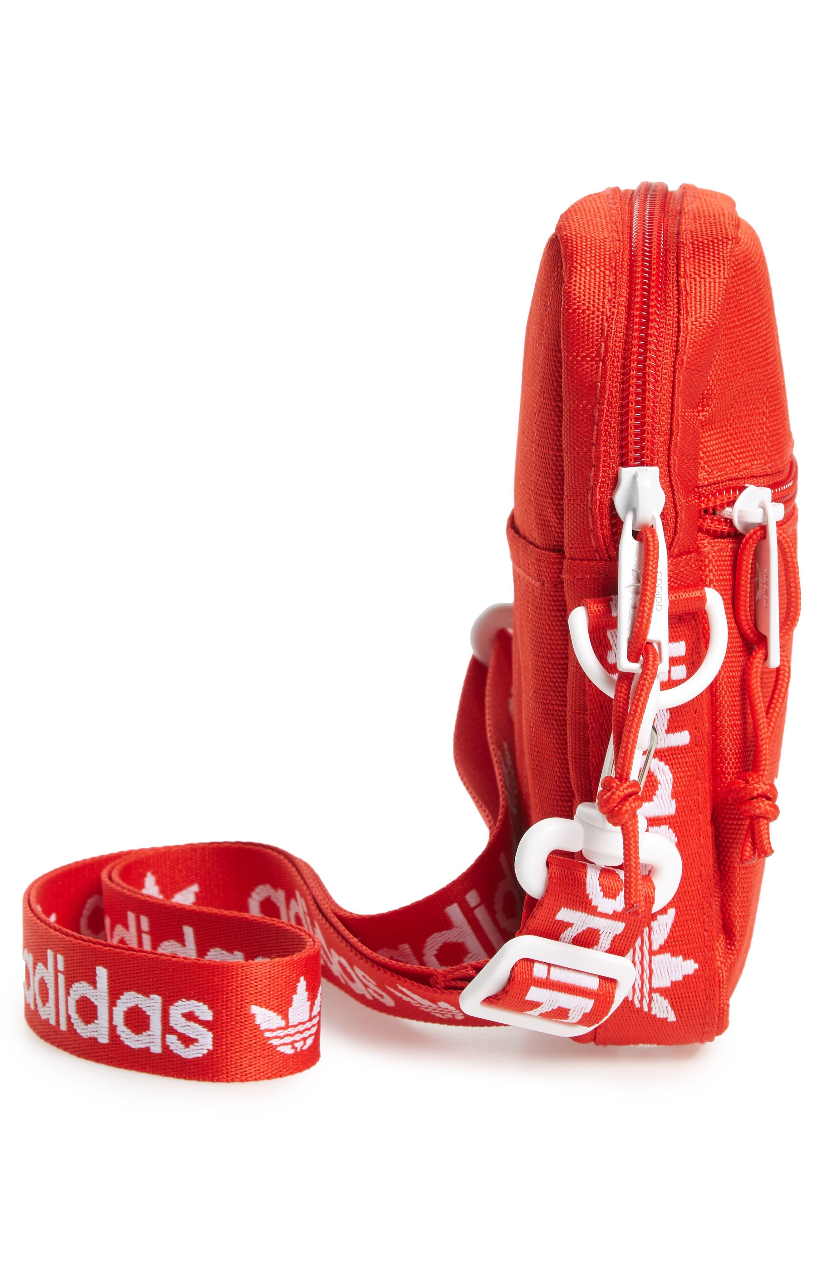 ADIDAS, Logo Belt Bag, Alternate thumbnail 6, color, RED