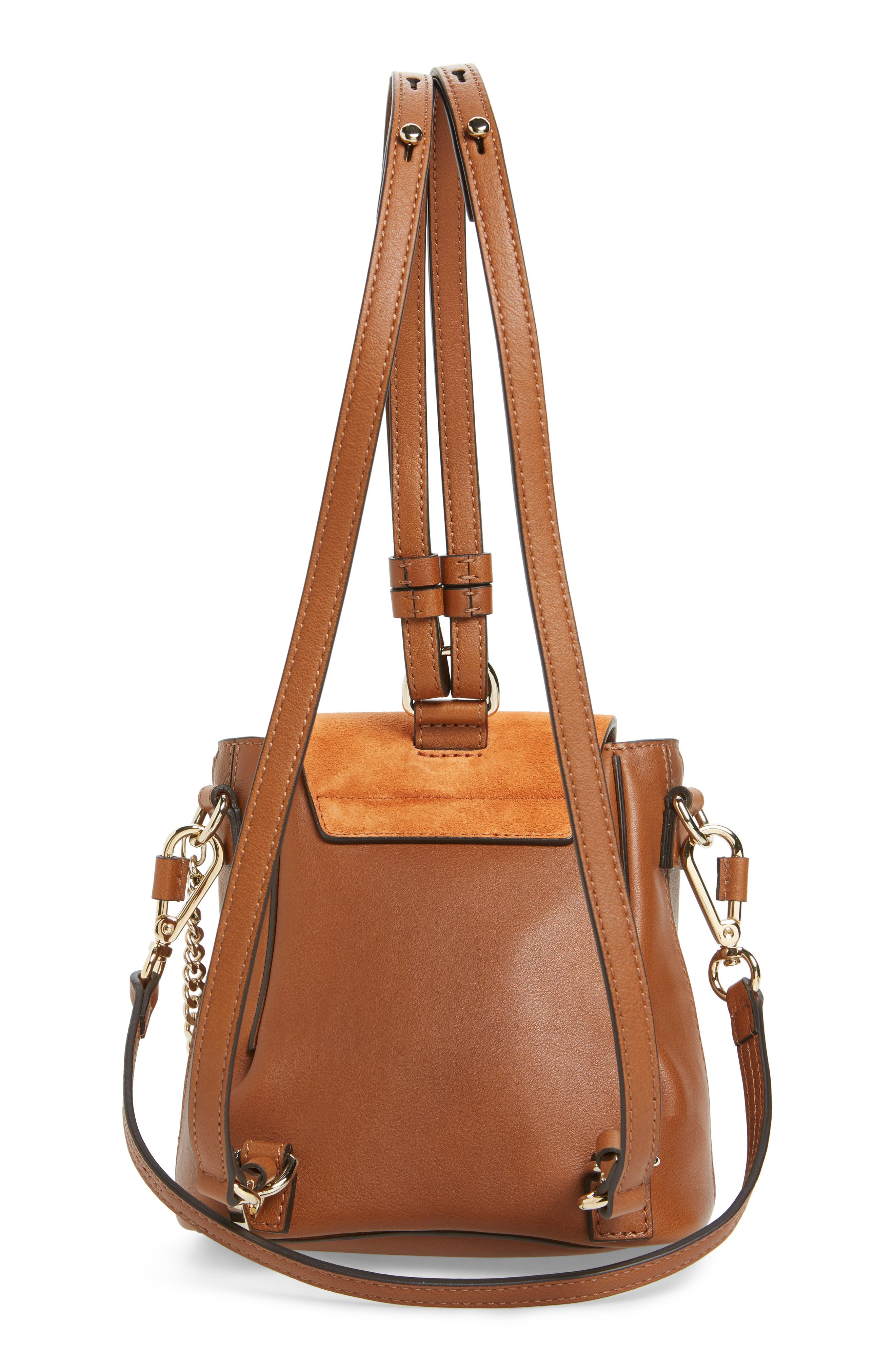 CHLOÉ, Mini Faye Leather & Suede Backpack, Alternate thumbnail 3, color, TAN