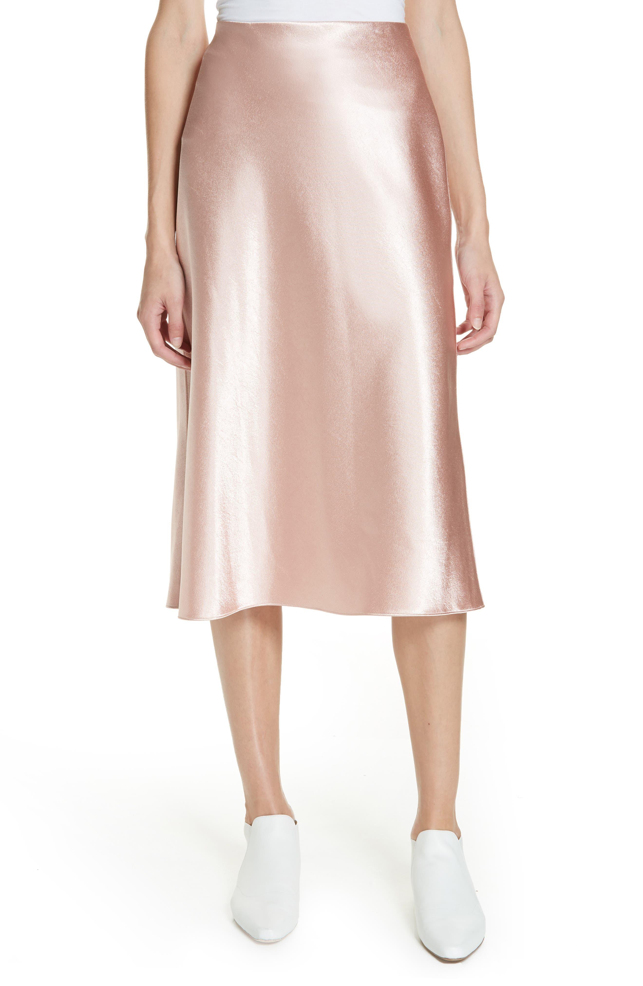 VINCE Satin Slip Skirt, Main, color, BLUSH