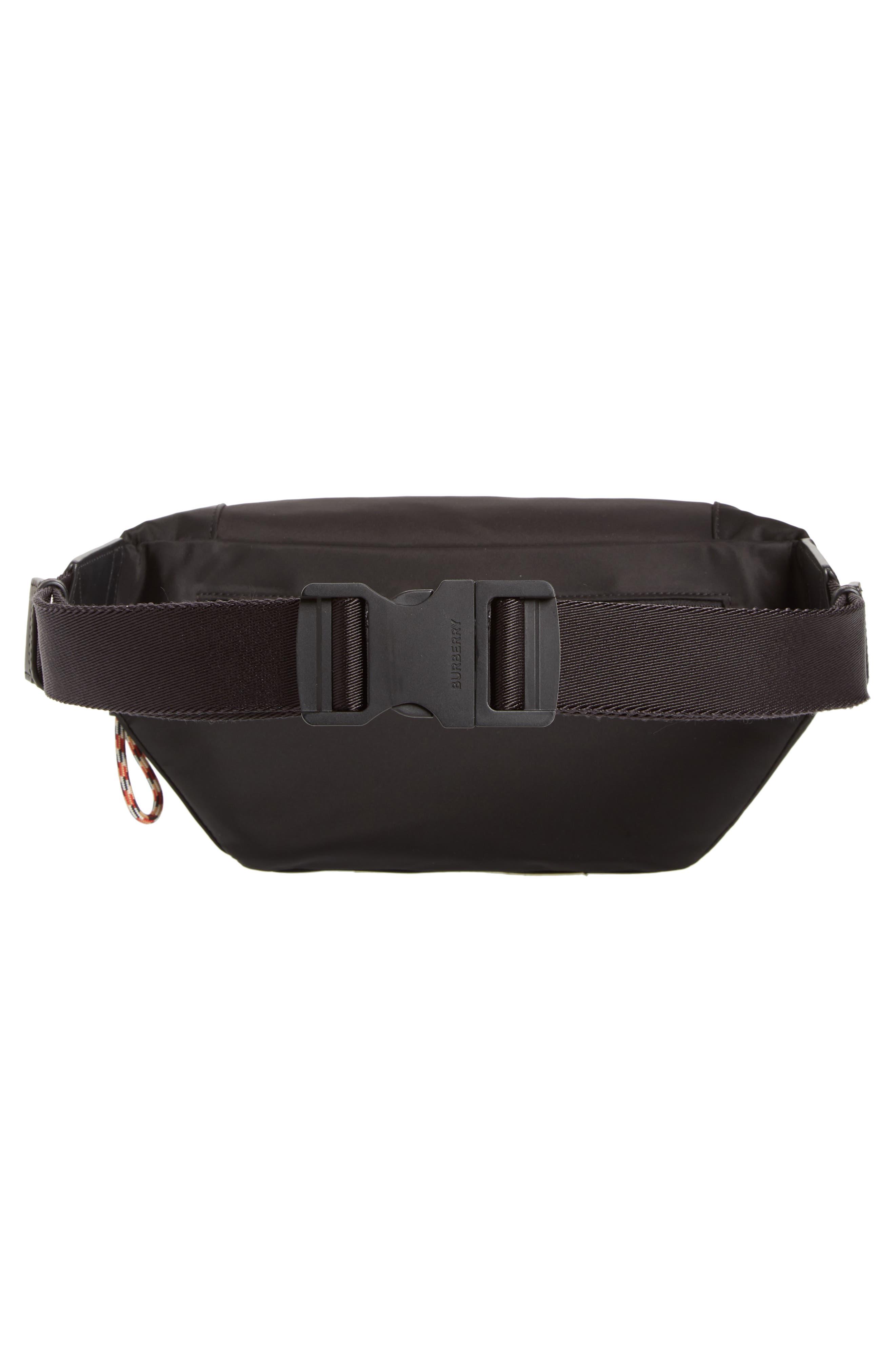 BURBERRY, Medium Sonny Logo Belt Bag, Alternate thumbnail 4, color, BLACK
