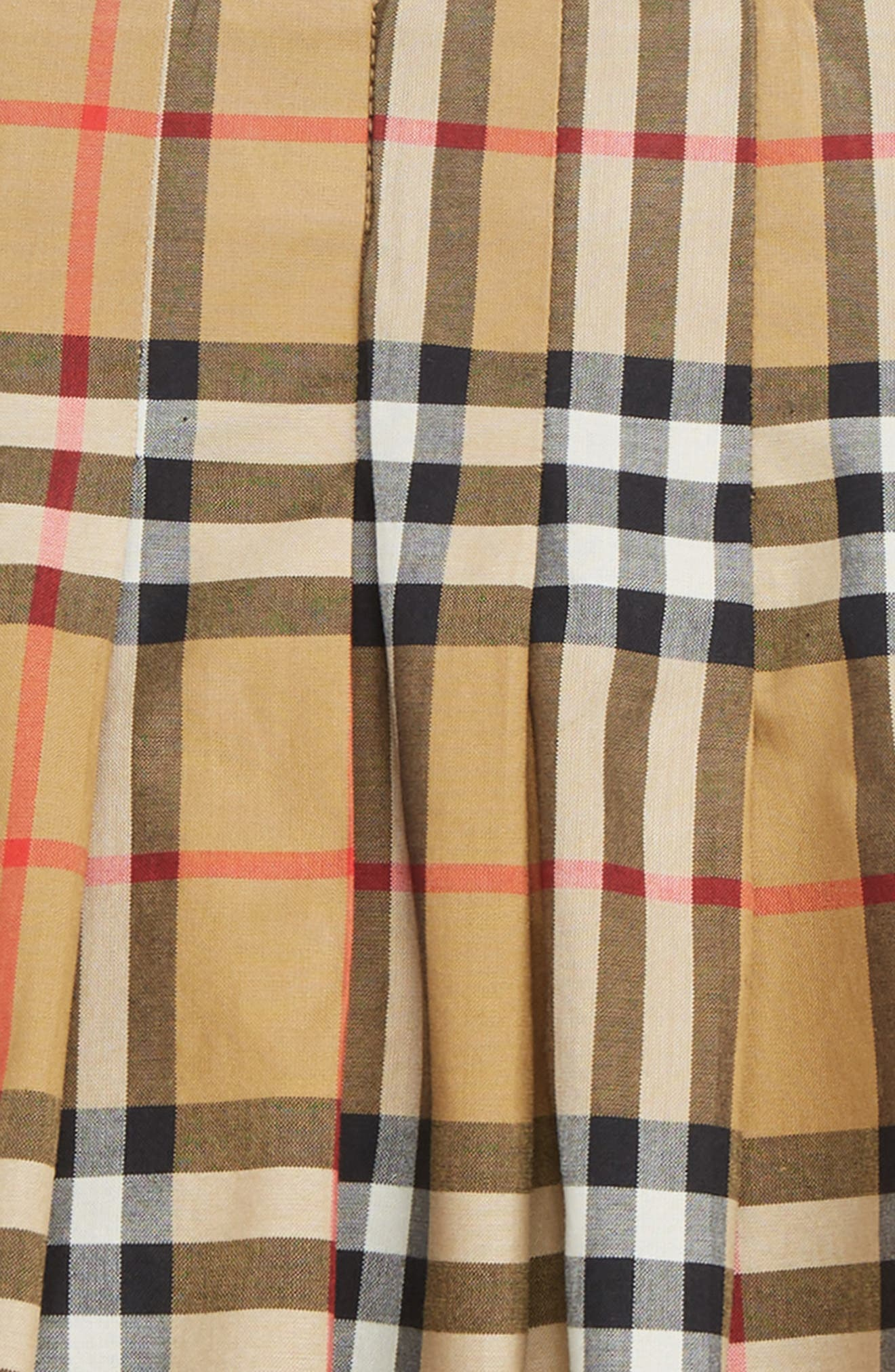 BURBERRY, Pearl Pleated Vintage Check Skirt, Alternate thumbnail 2, color, ANTIQUE YELLOW