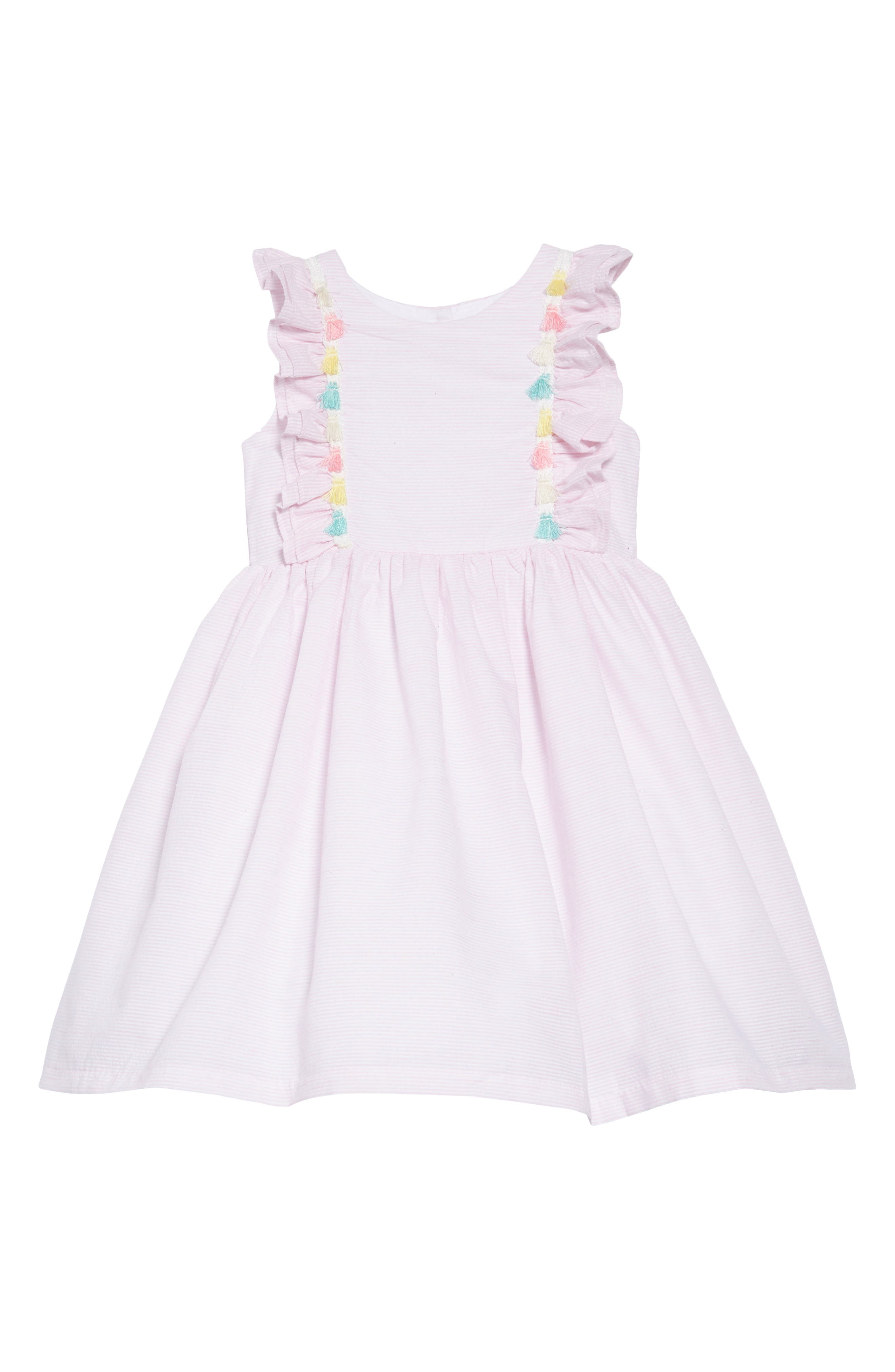 PIPPA & JULIE, Tassel Trim Seersucker Dress, Main thumbnail 1, color, 650