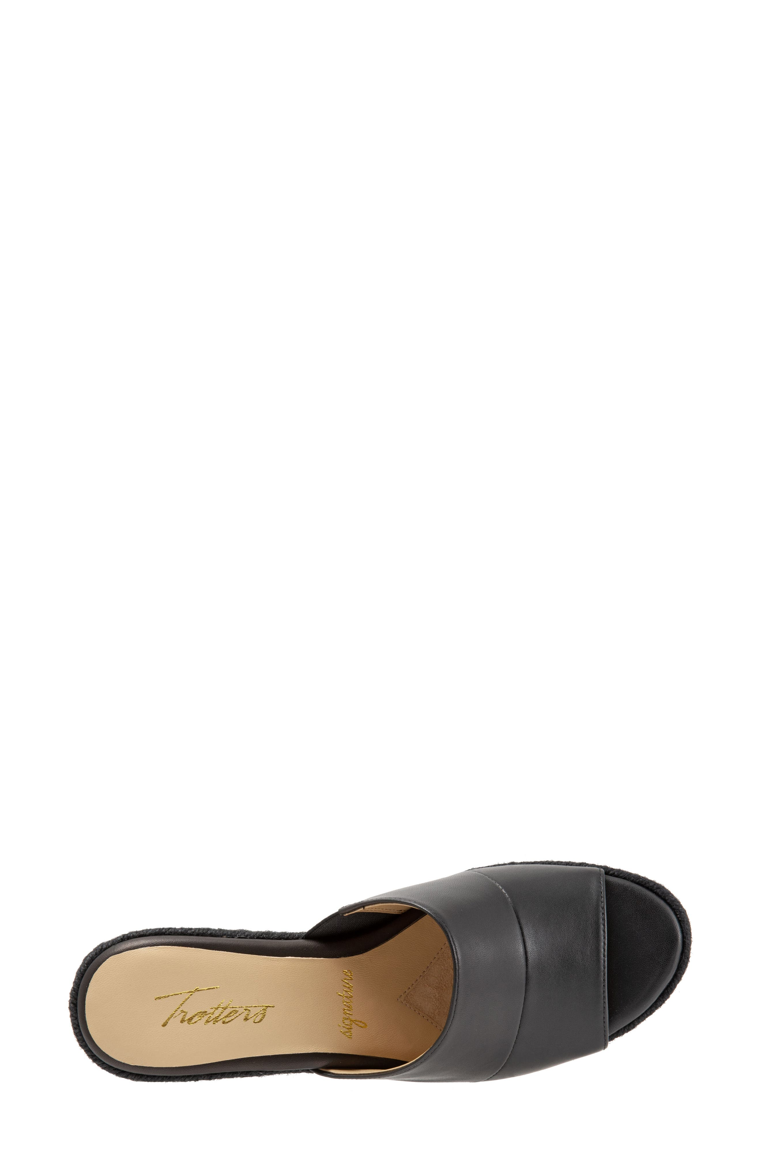 TROTTERS, Colony Wedge Slide Sandal, Alternate thumbnail 5, color, BLACK LEATHER
