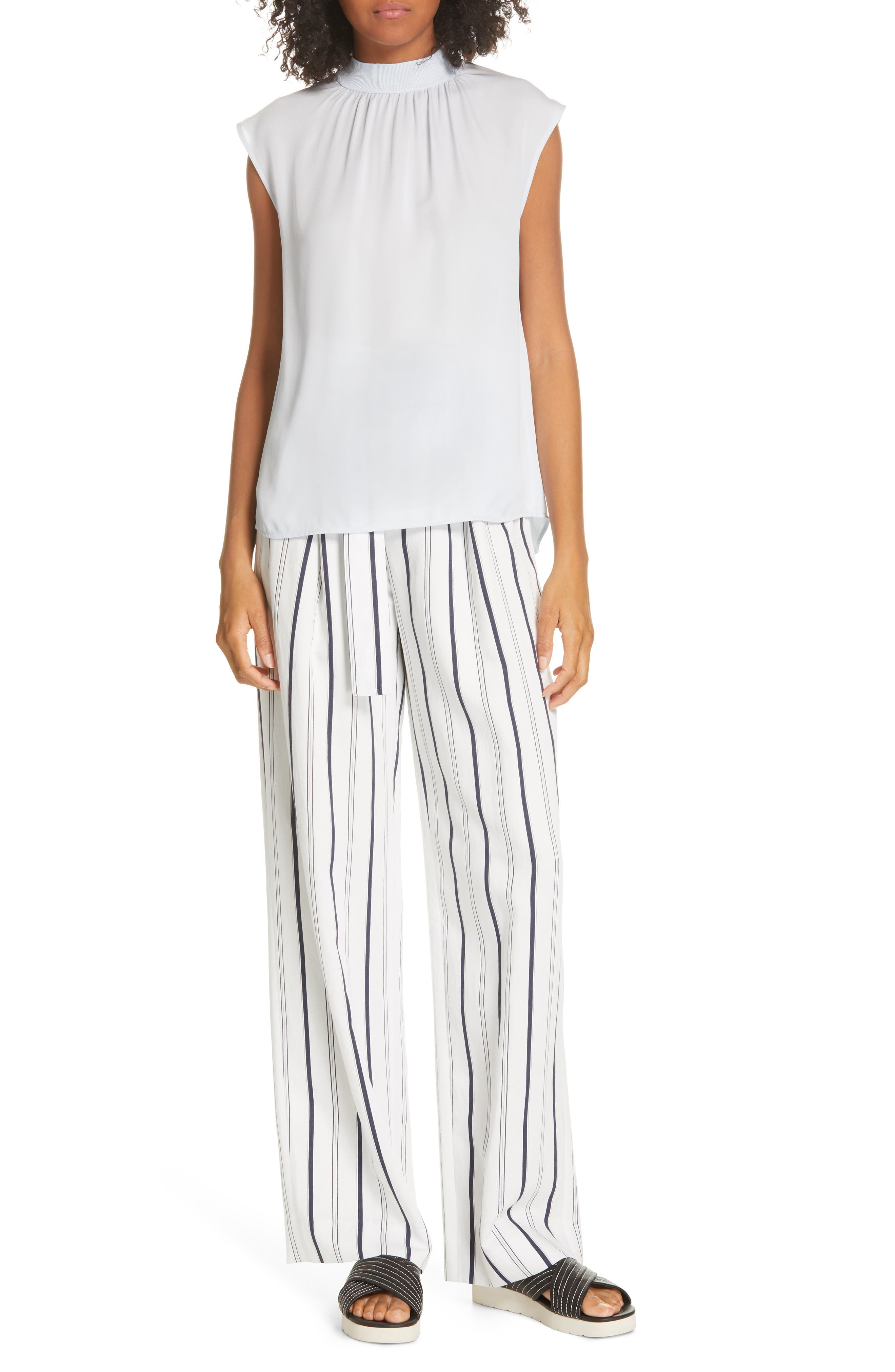 VINCE, Belted Stripe Pants, Alternate thumbnail 8, color, OFF WHITE