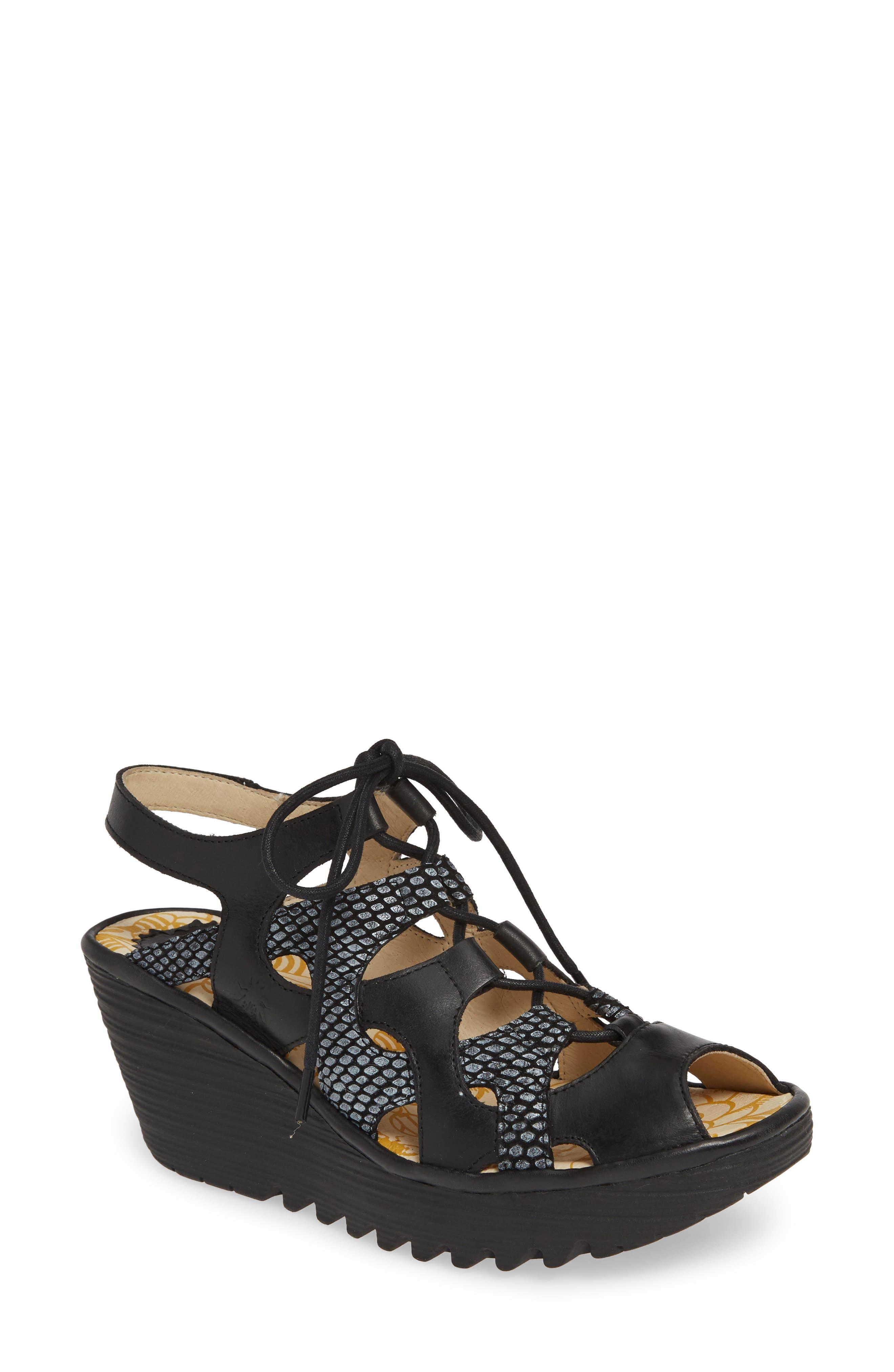 FLY LONDON Yexa Sandal, Main, color, BLACK LEATHER