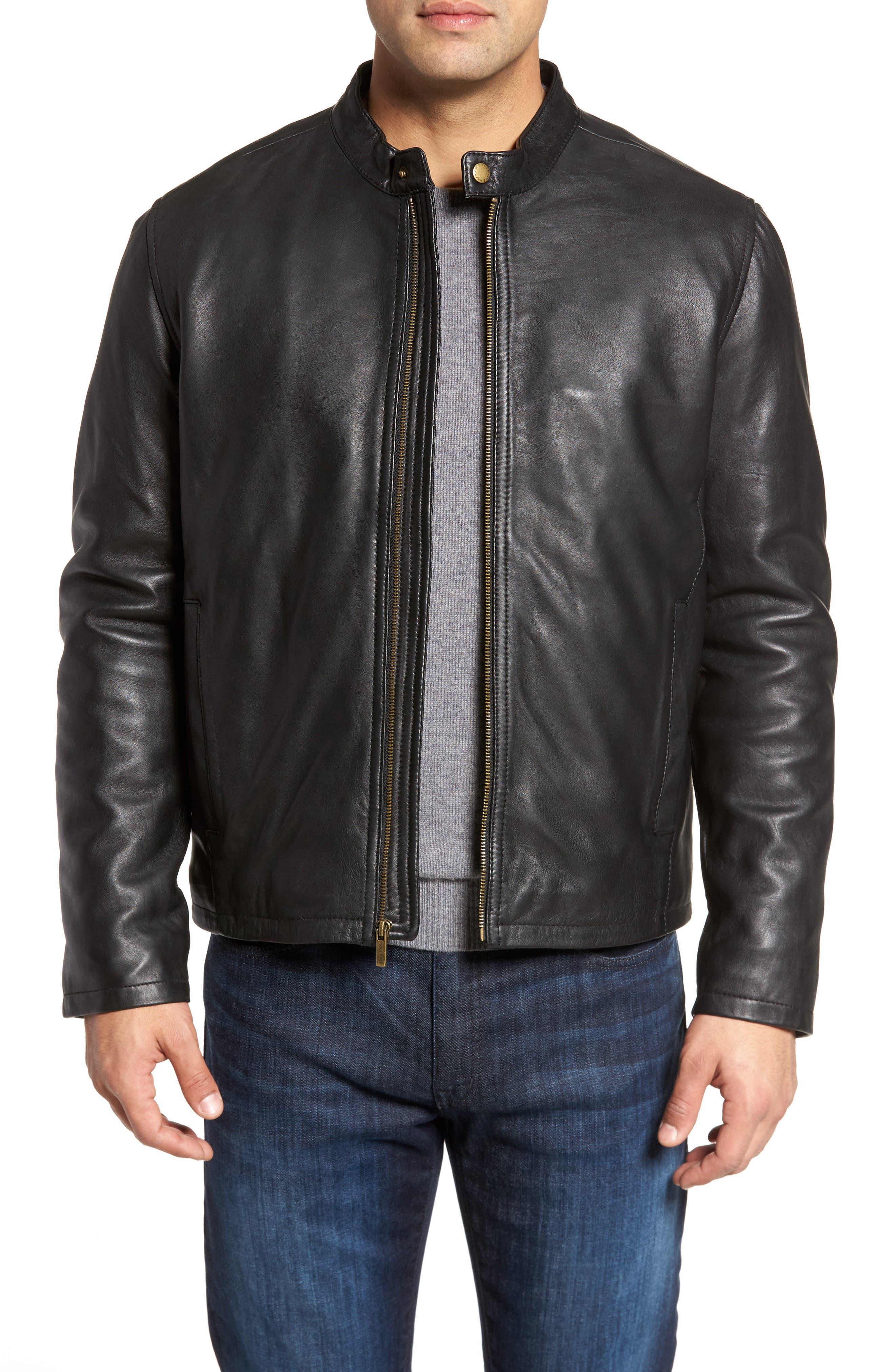 COLE HAAN Lambskin Leather Moto Jacket, Main, color, 001