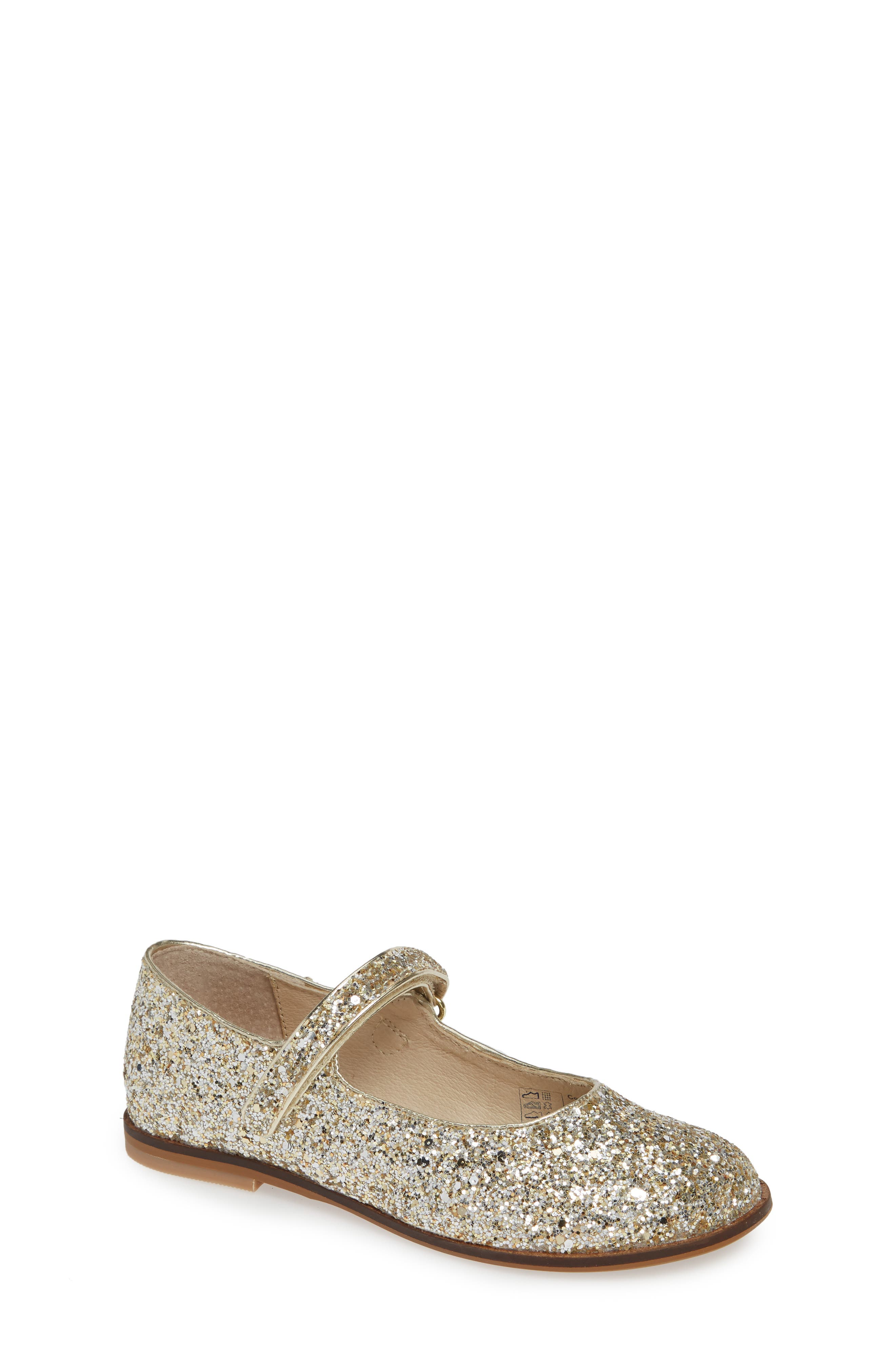 MINI BODEN 'Fun' Mary Jane, Main, color, SILVER/ GOLD GLITTER