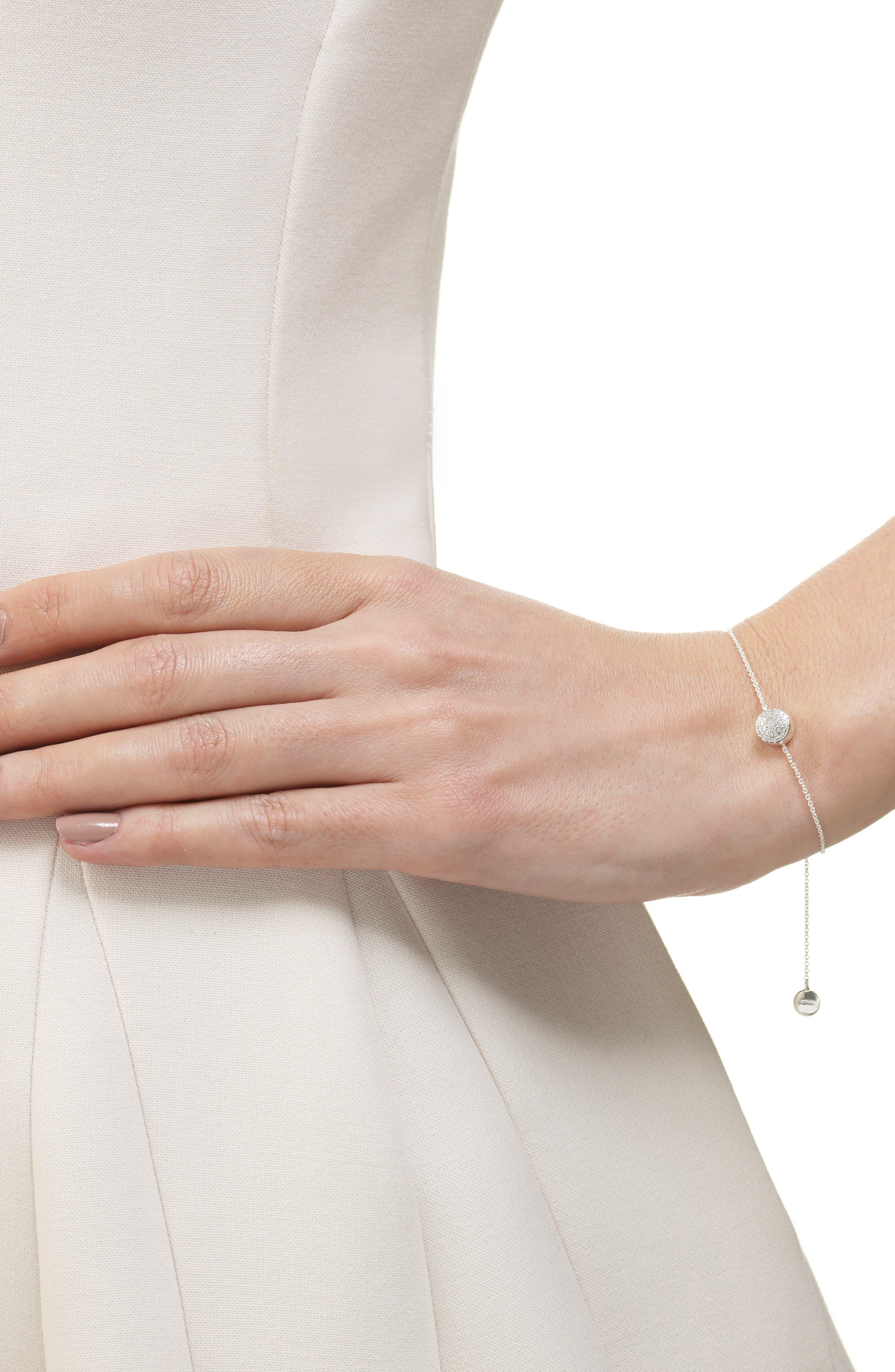 MONICA VINADER, 'Ava' Diamond Button Bracelet, Alternate thumbnail 2, color, SILVER