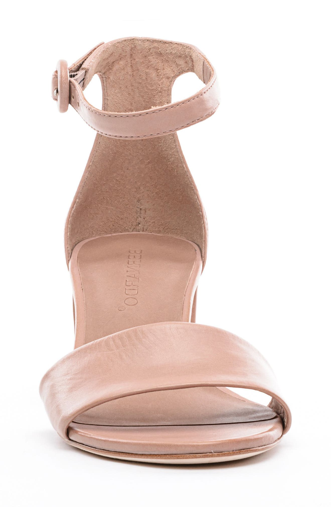 BERNARDO, Belinda Ankle Strap Sandal, Alternate thumbnail 4, color, BLUSH LEATHER