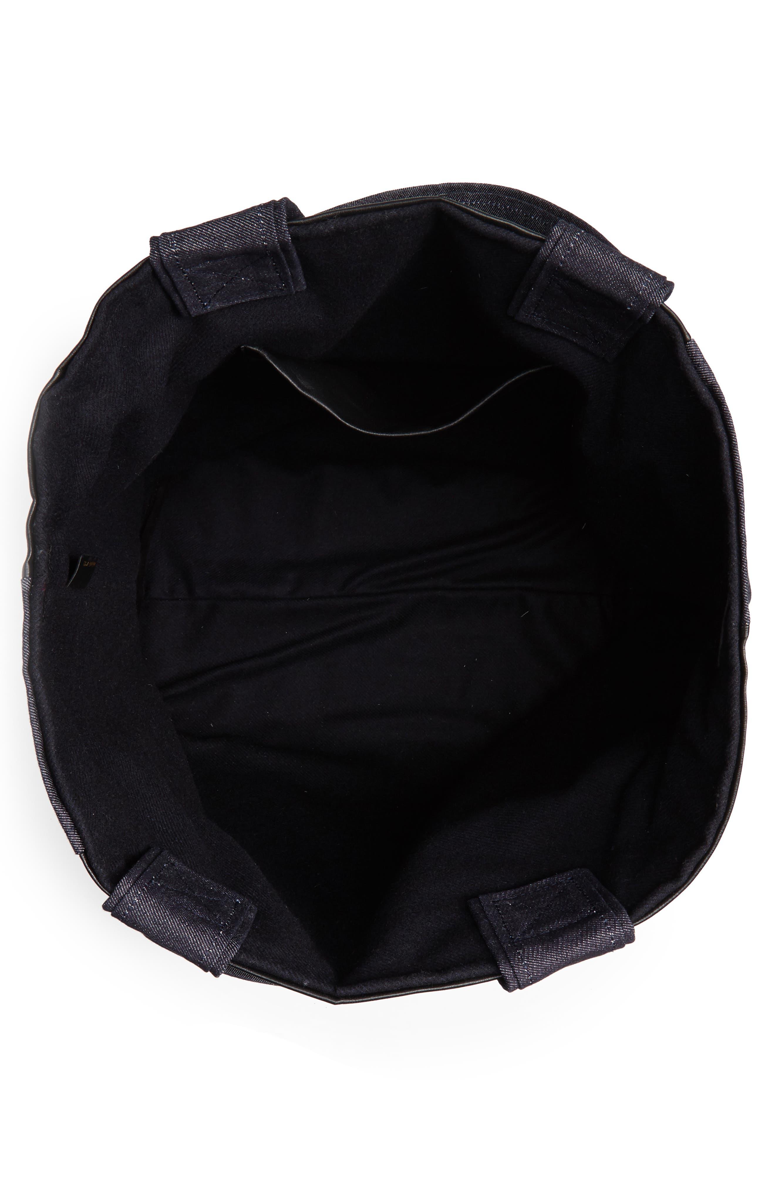 VICTORIA BECKHAM, Sunday Denim & Leather Tote Bag, Alternate thumbnail 4, color, 400