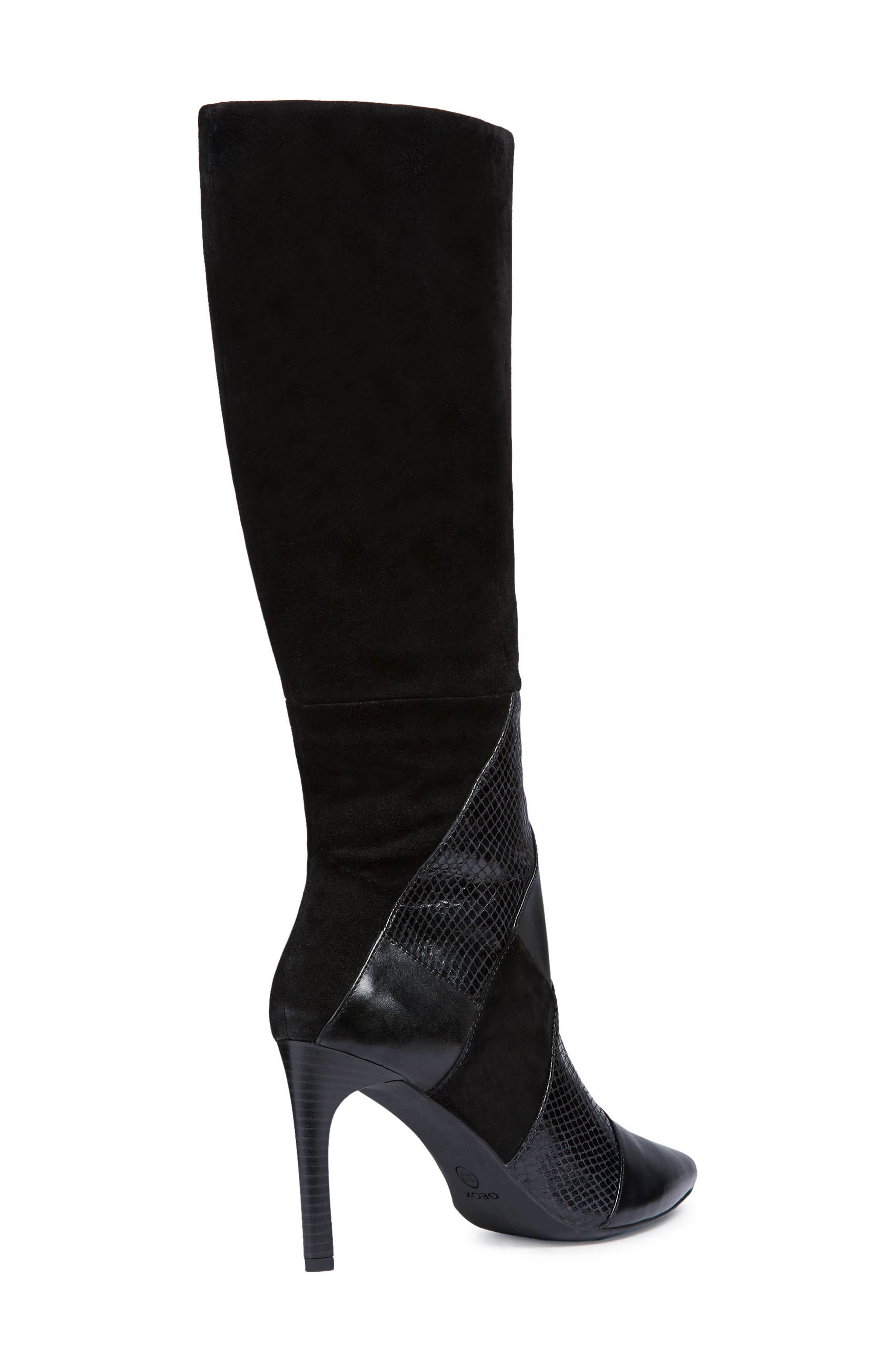 GEOX, Faviola Knee High Boot, Alternate thumbnail 7, color, BLACK LEATHER