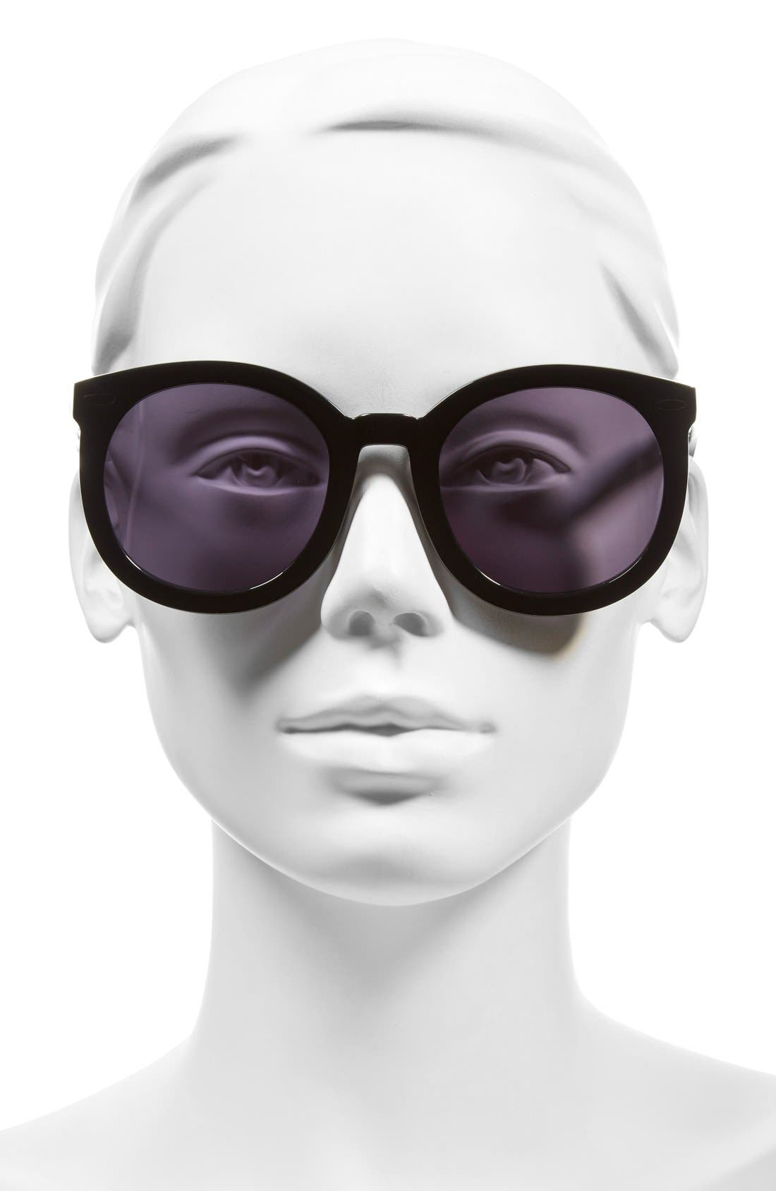 KAREN WALKER, Super Duper Strength 55mm Sunglasses, Alternate thumbnail 2, color, 001