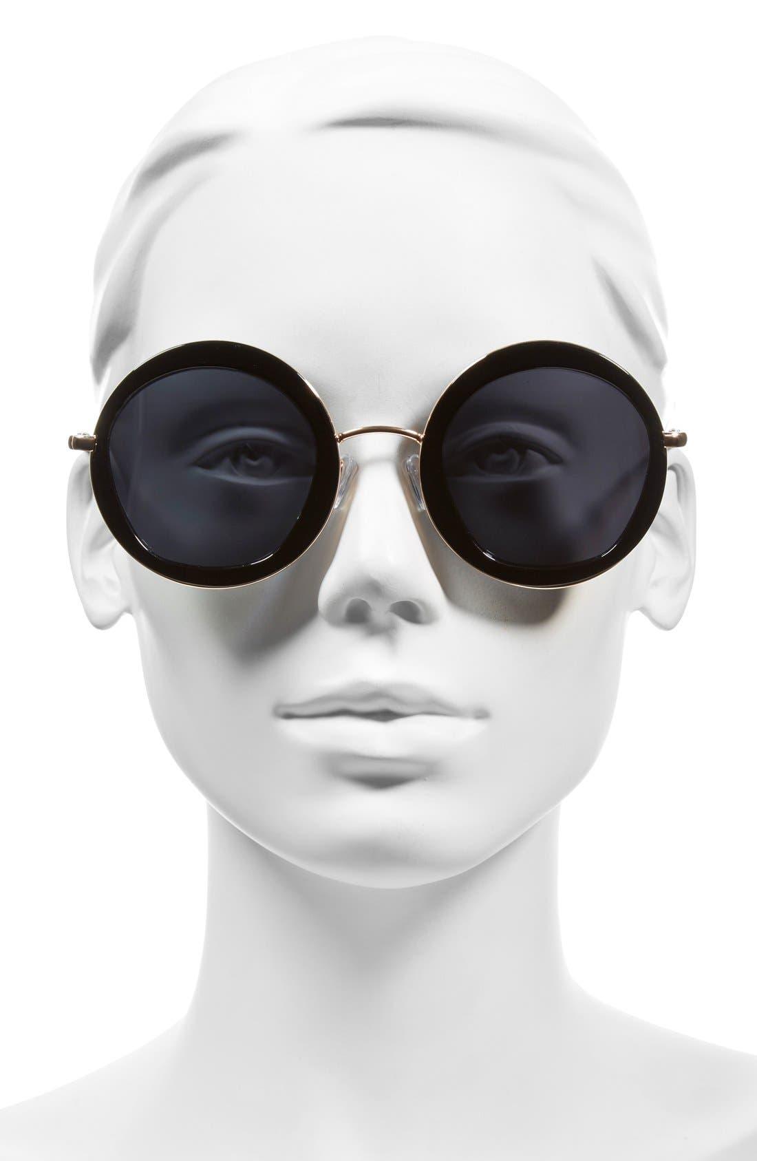A.J. MORGAN, 'Clique' 50mm Round Sunglasses, Alternate thumbnail 2, color, 001