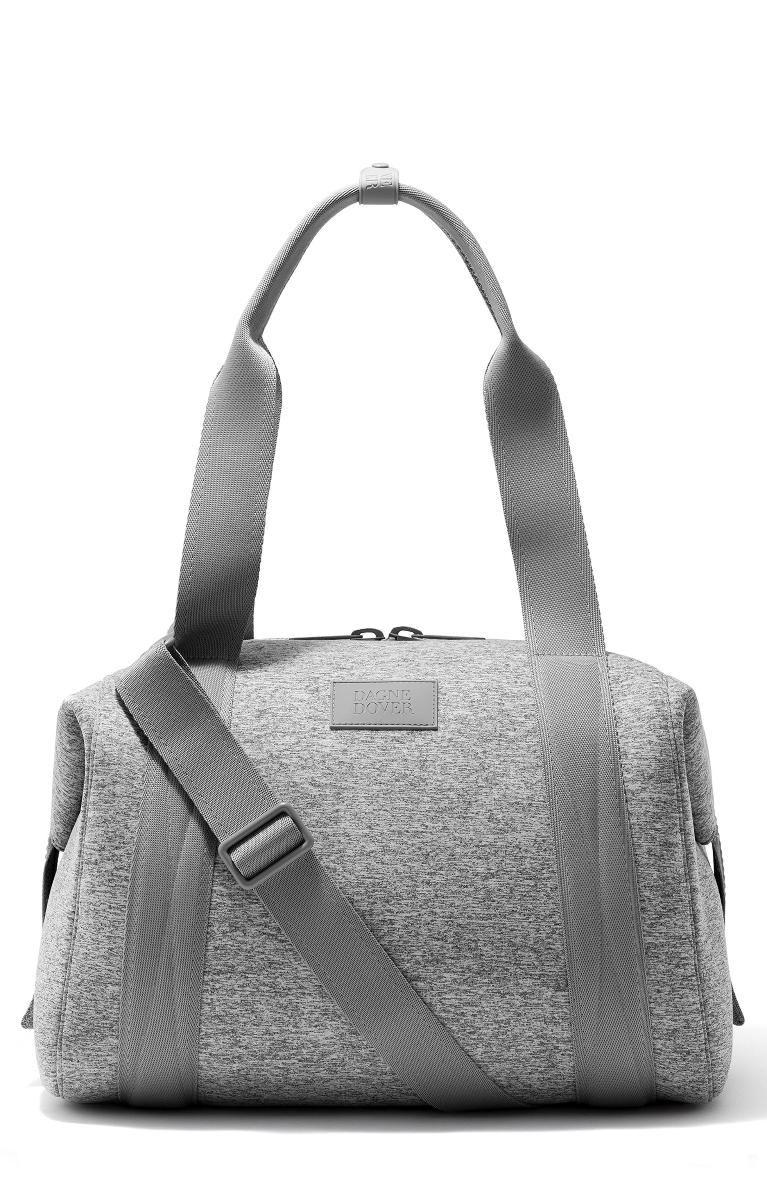 DAGNE DOVER, 365 Medium Landon Neoprene Carryall Duffle Bag, Main thumbnail 1, color, HEATHER GREY