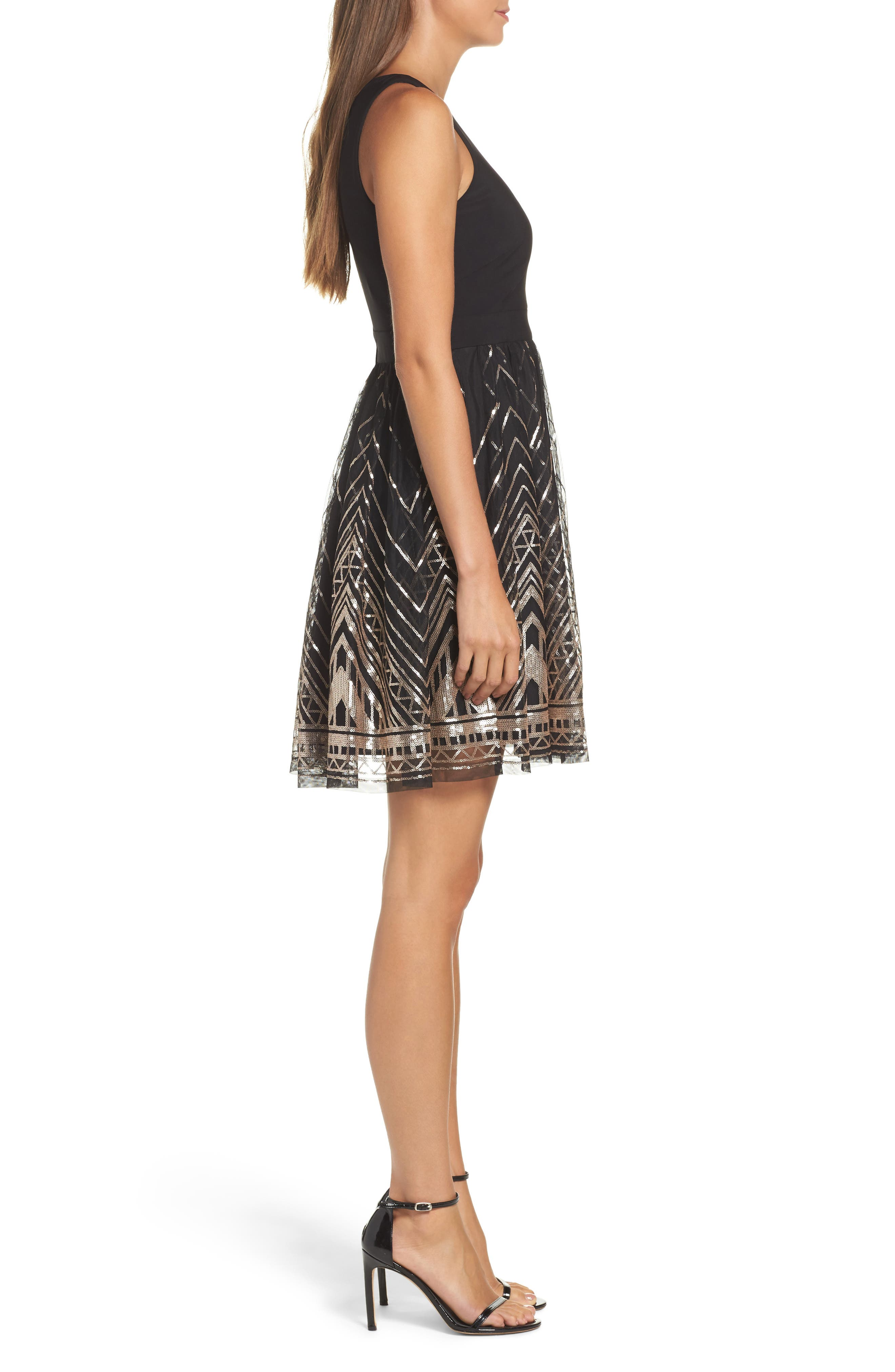 VINCE CAMUTO, Sequin Fit & Flare Cocktail Dress, Alternate thumbnail 4, color, BLACK/ GOLD
