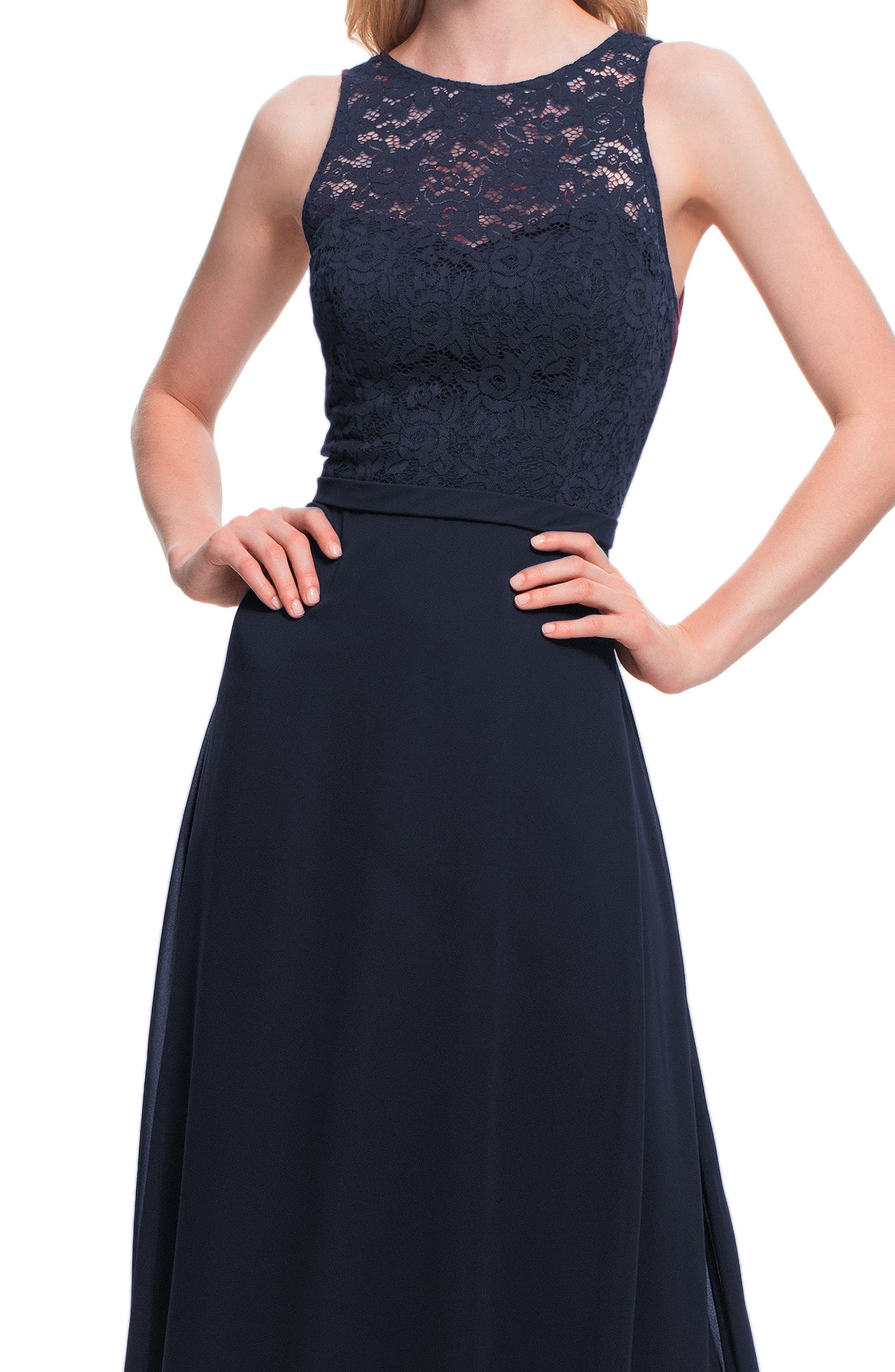 #LEVKOFF, Lace Bodice Chiffon Gown, Alternate thumbnail 3, color, NAVY