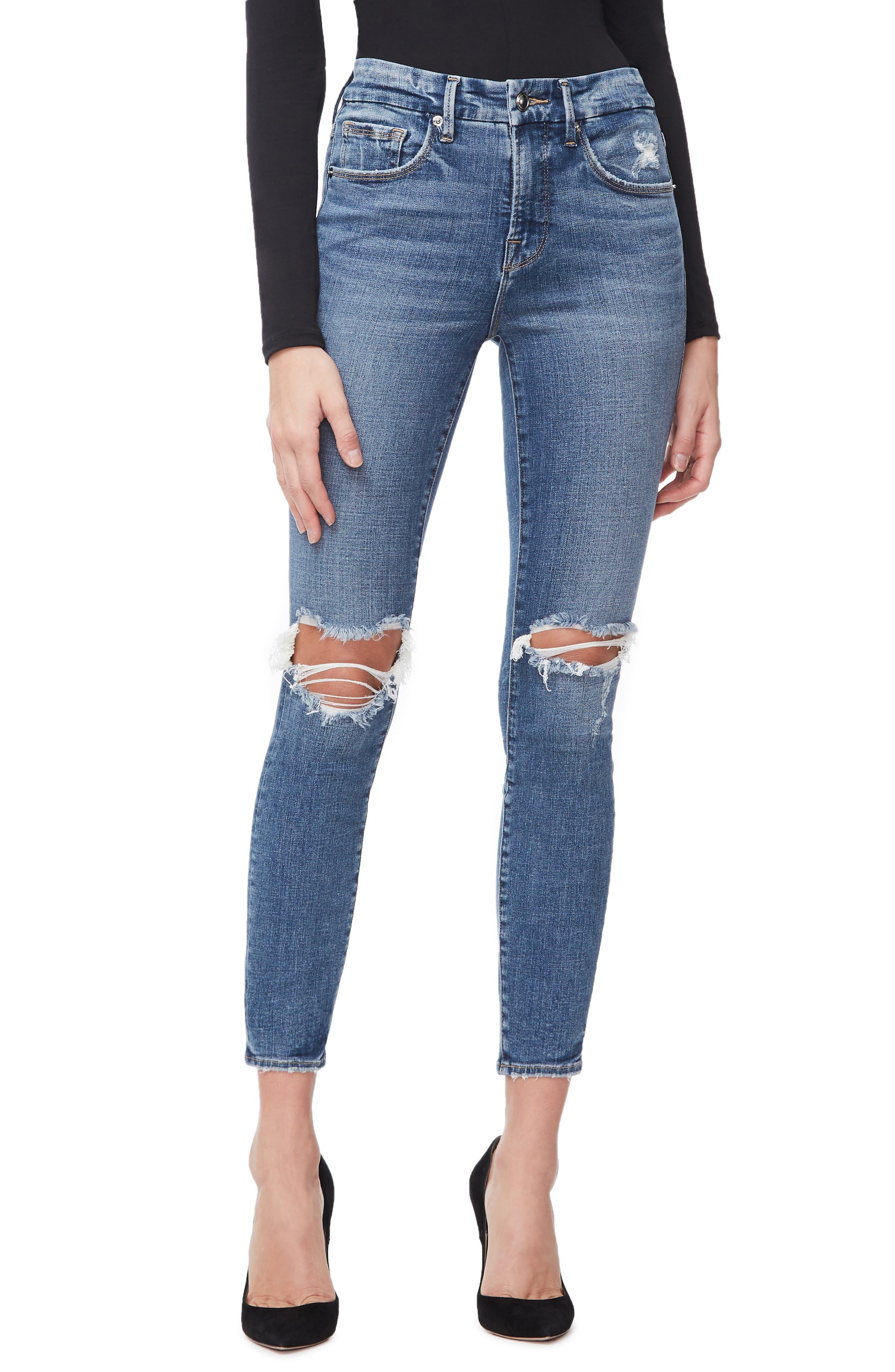GOOD AMERICAN, Good Legs High Waist Crop Skinny Jeans, Main thumbnail 1, color, BLUE 261