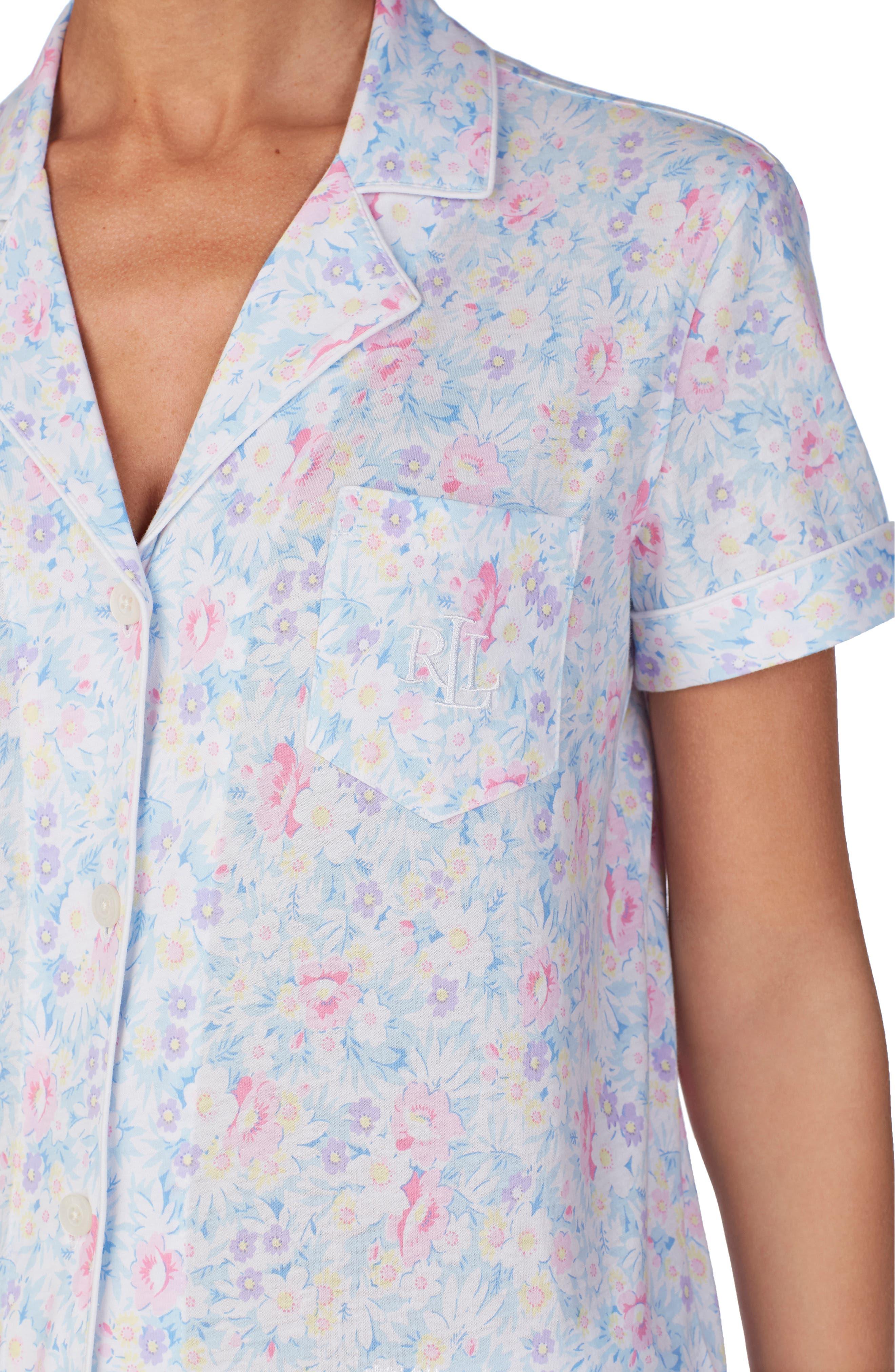 LAUREN RALPH LAUREN, Bermuda Shorts Pajamas, Alternate thumbnail 4, color, PINK FLORAL