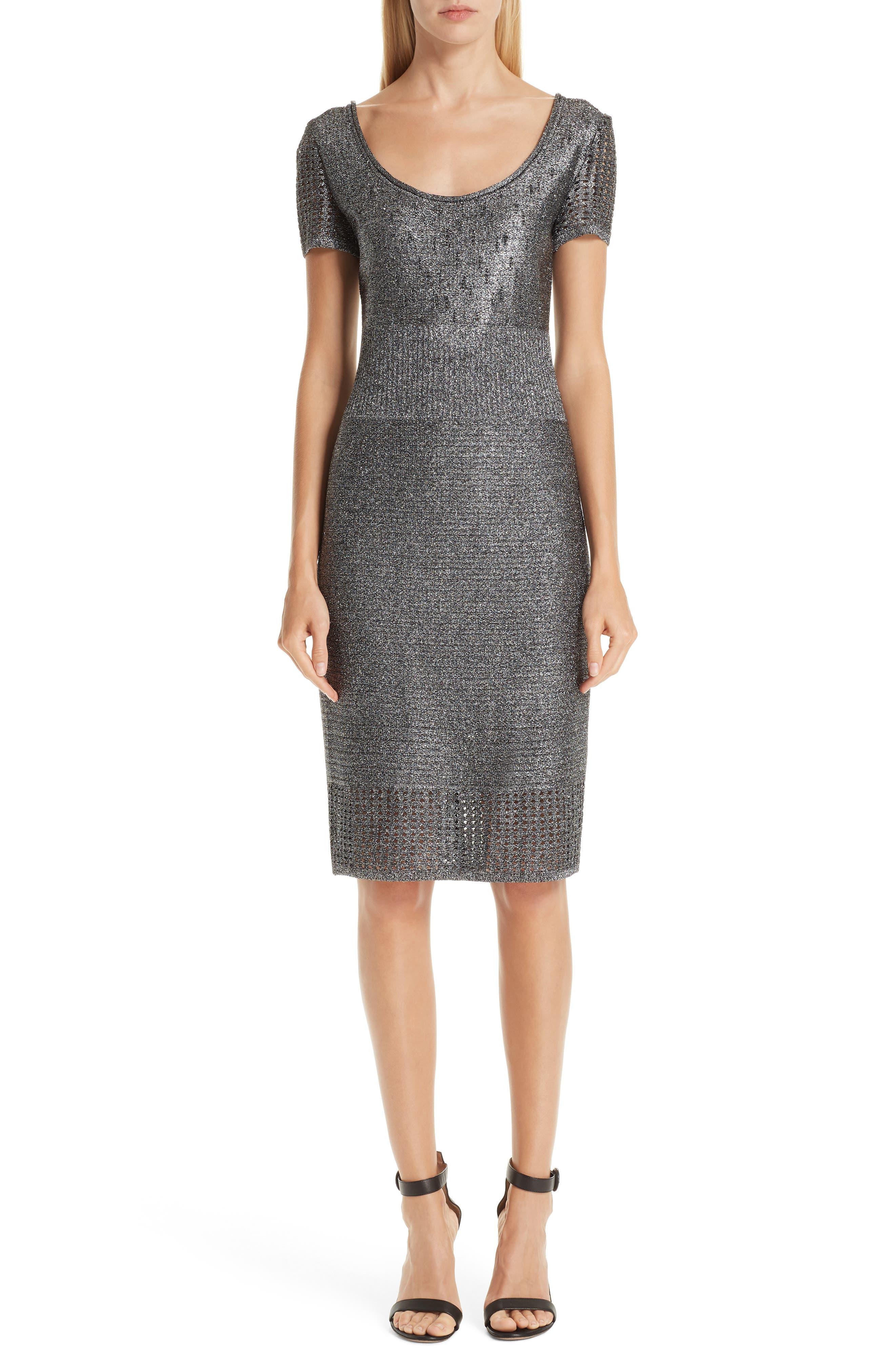 ST. JOHN COLLECTION, Metallic Plaited Mixed Knit Dress, Main thumbnail 1, color, GUNMETAL/ CAVIAR