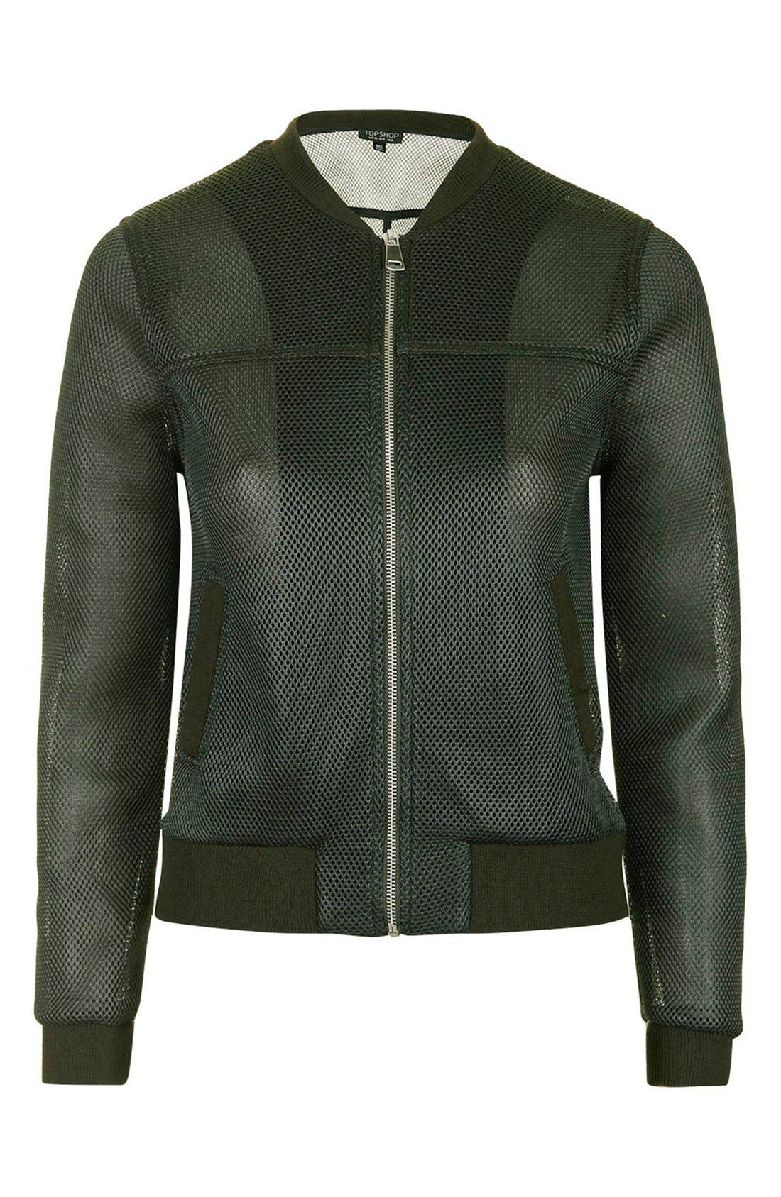 TOPSHOP, 'Airtex' Bomber Jacket, Alternate thumbnail 3, color, 300