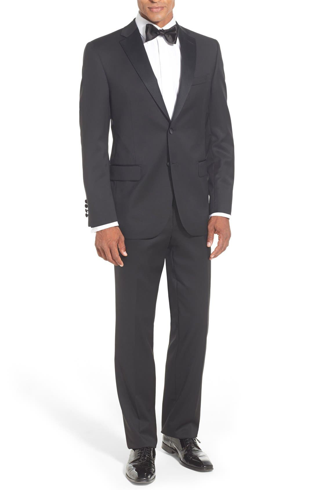 DAVID DONAHUE, Classic Fit Loro Piana Wool Notch Lapel Tuxedo, Main thumbnail 1, color, BLACK