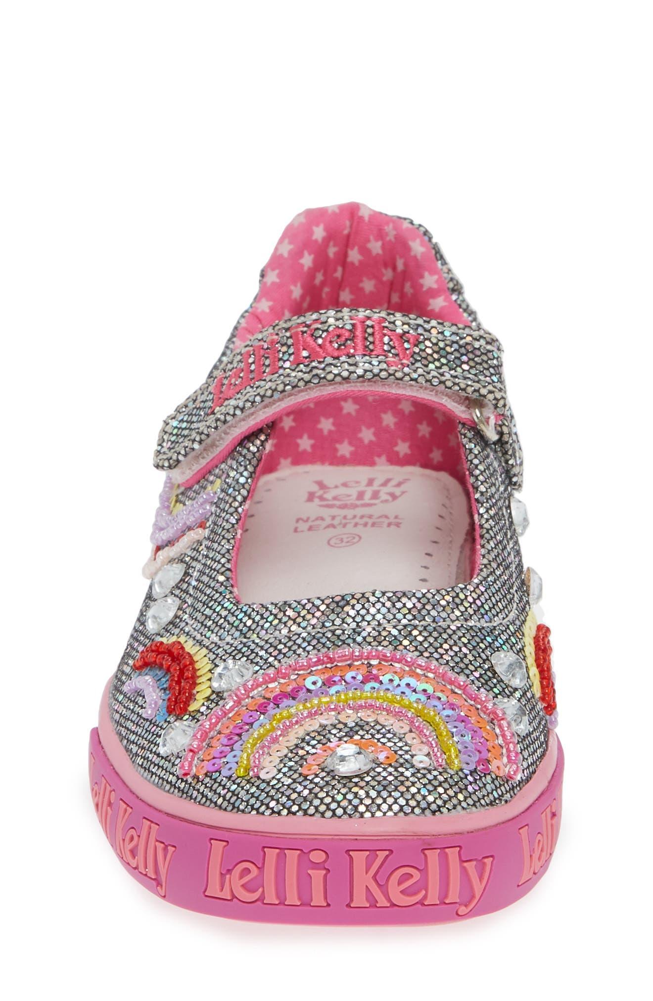LELLI KELLY, Beaded Rainbow Mary Jane Sneaker, Alternate thumbnail 4, color, PEWTER