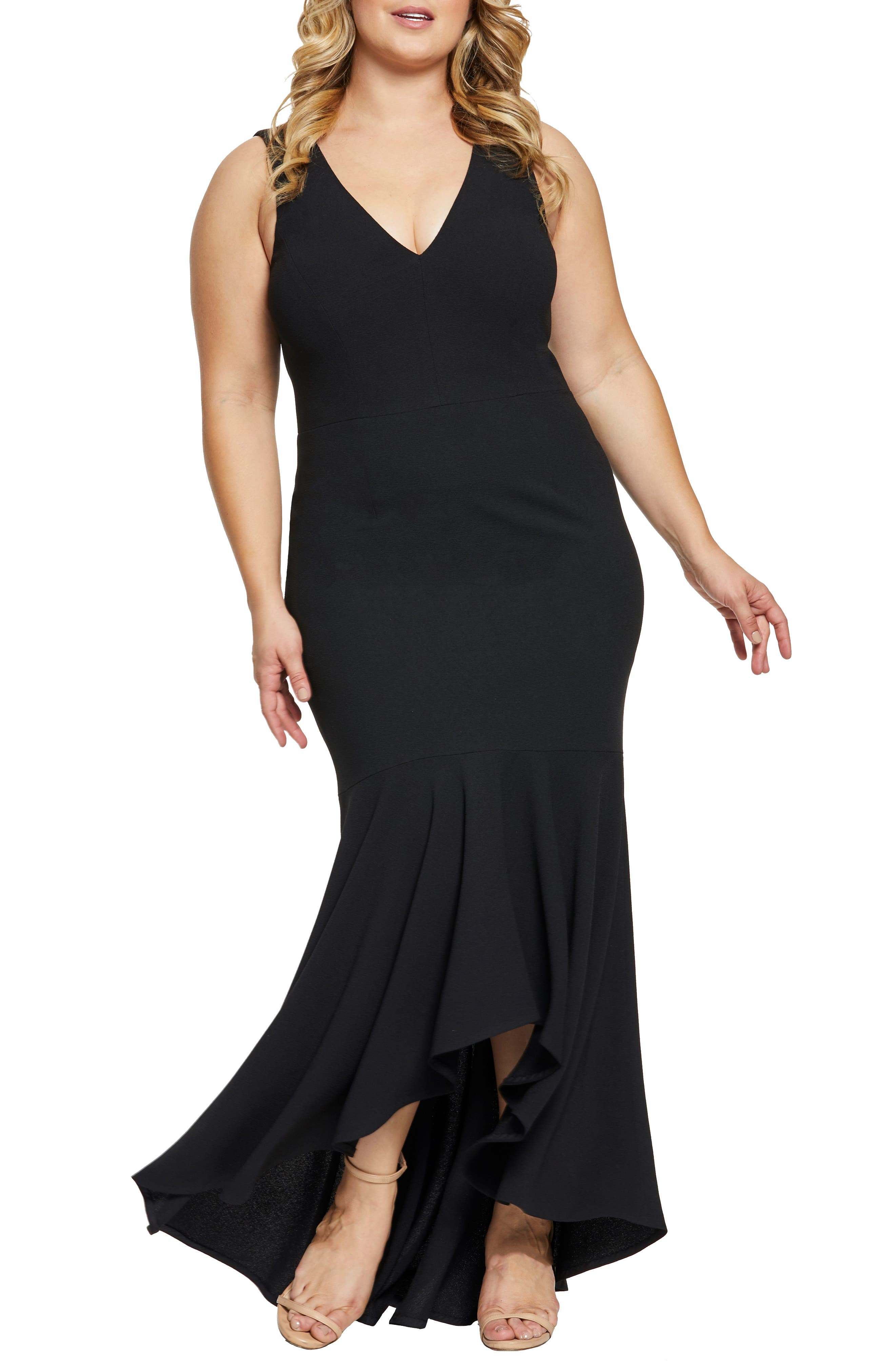 Plus Size Dress The Population High/low Mermaid Hem Evening Dress, Black