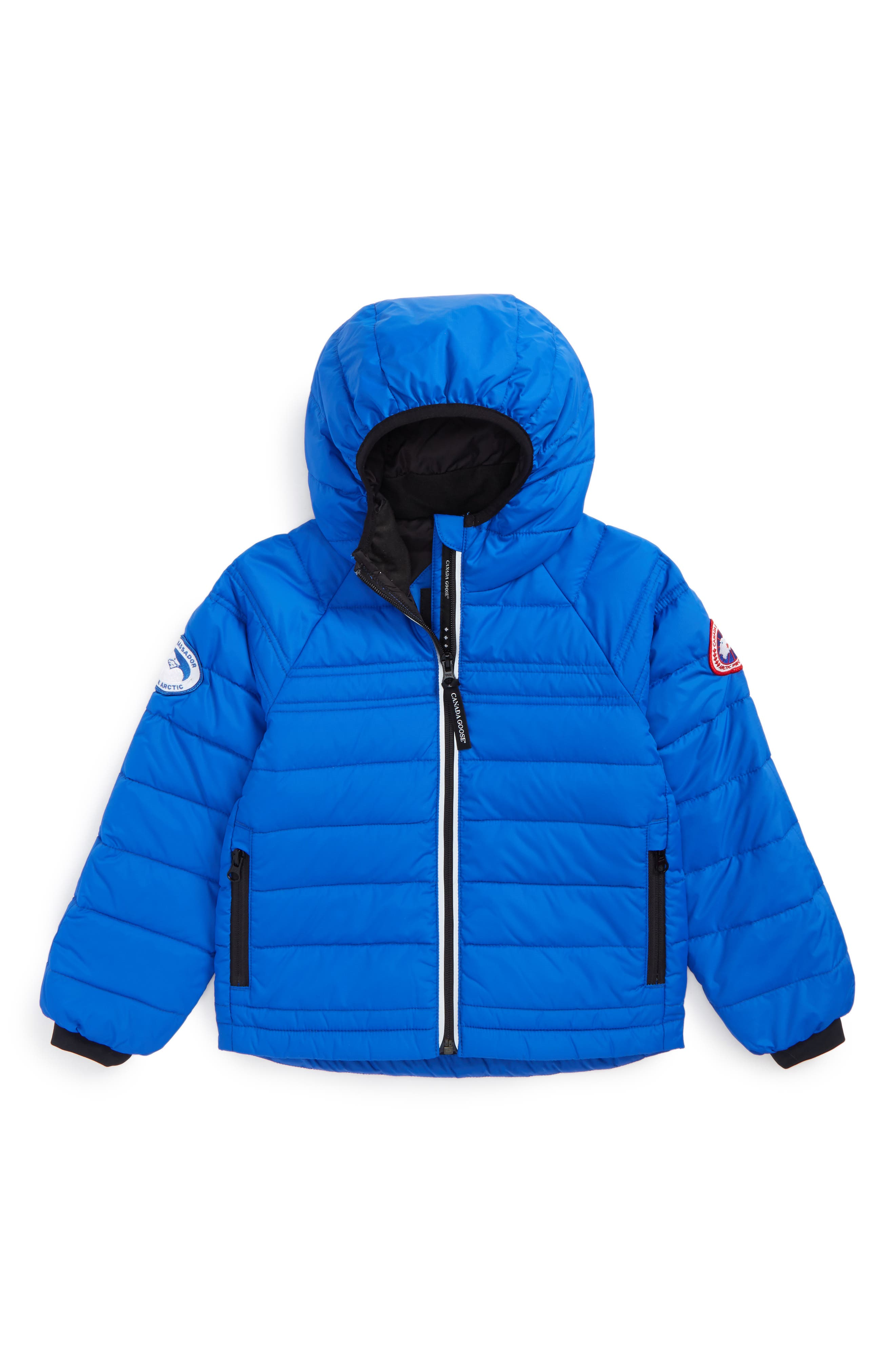 CANADA GOOSE, Bobcat Water Resistant Hooded Down Jacket, Main thumbnail 1, color, PBI BLUE