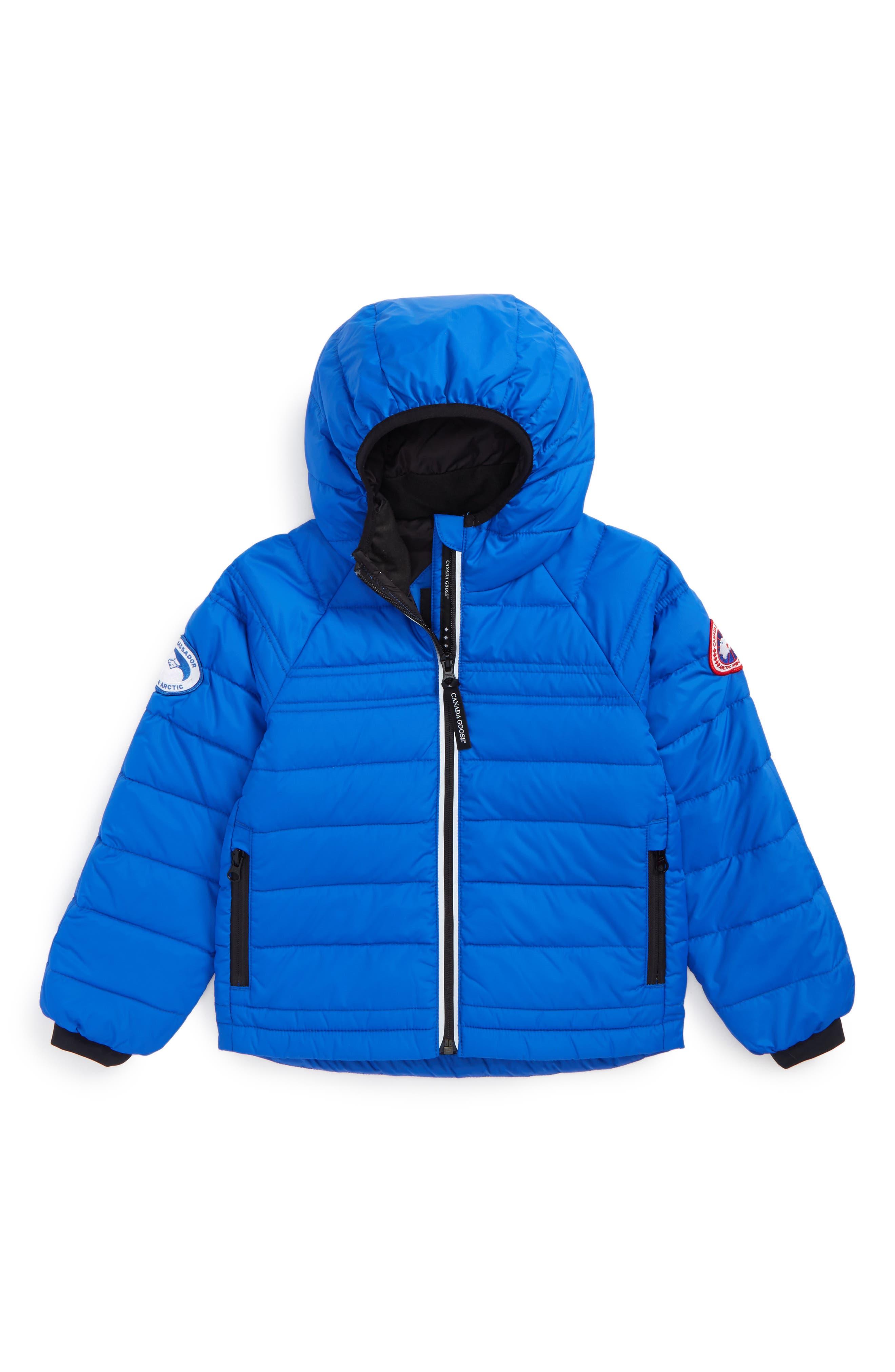 CANADA GOOSE Bobcat Water Resistant Hooded Down Jacket, Main, color, PBI BLUE