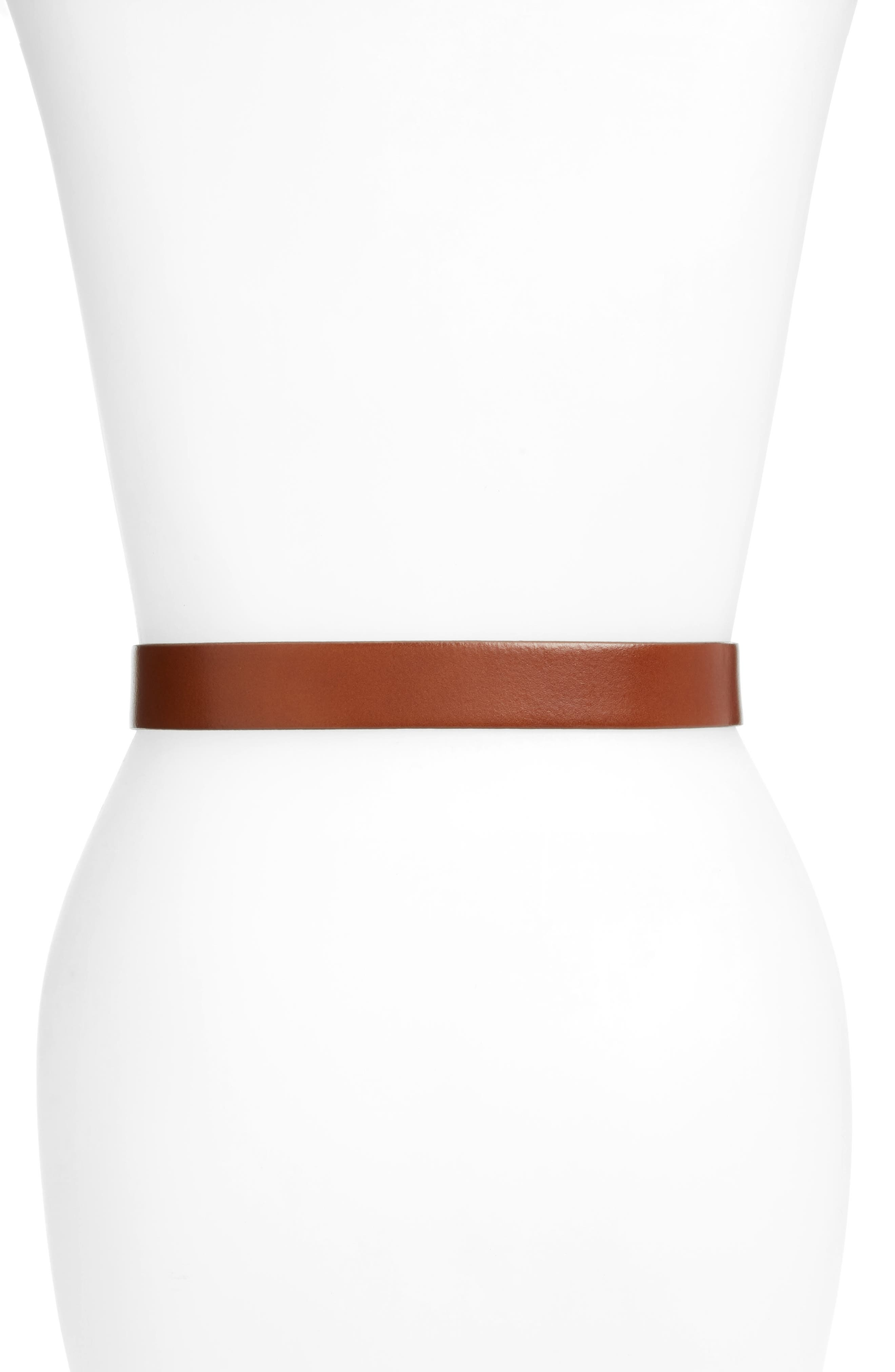 HALOGEN<SUP>®</SUP>, Tailored Trouser Leather Belt, Alternate thumbnail 2, color, COGNAC