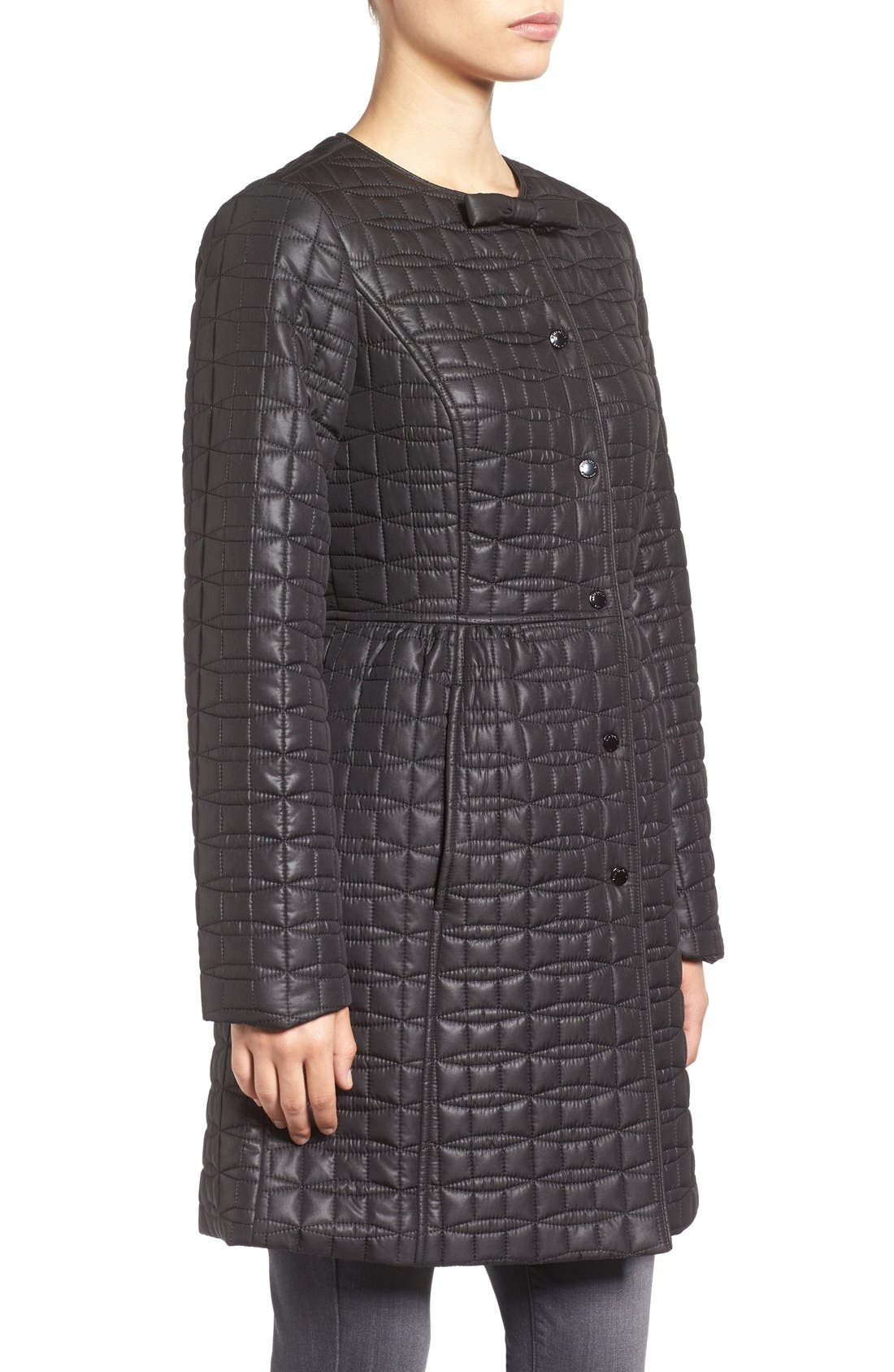 KATE SPADE NEW YORK, quilted down coat, Alternate thumbnail 3, color, 001