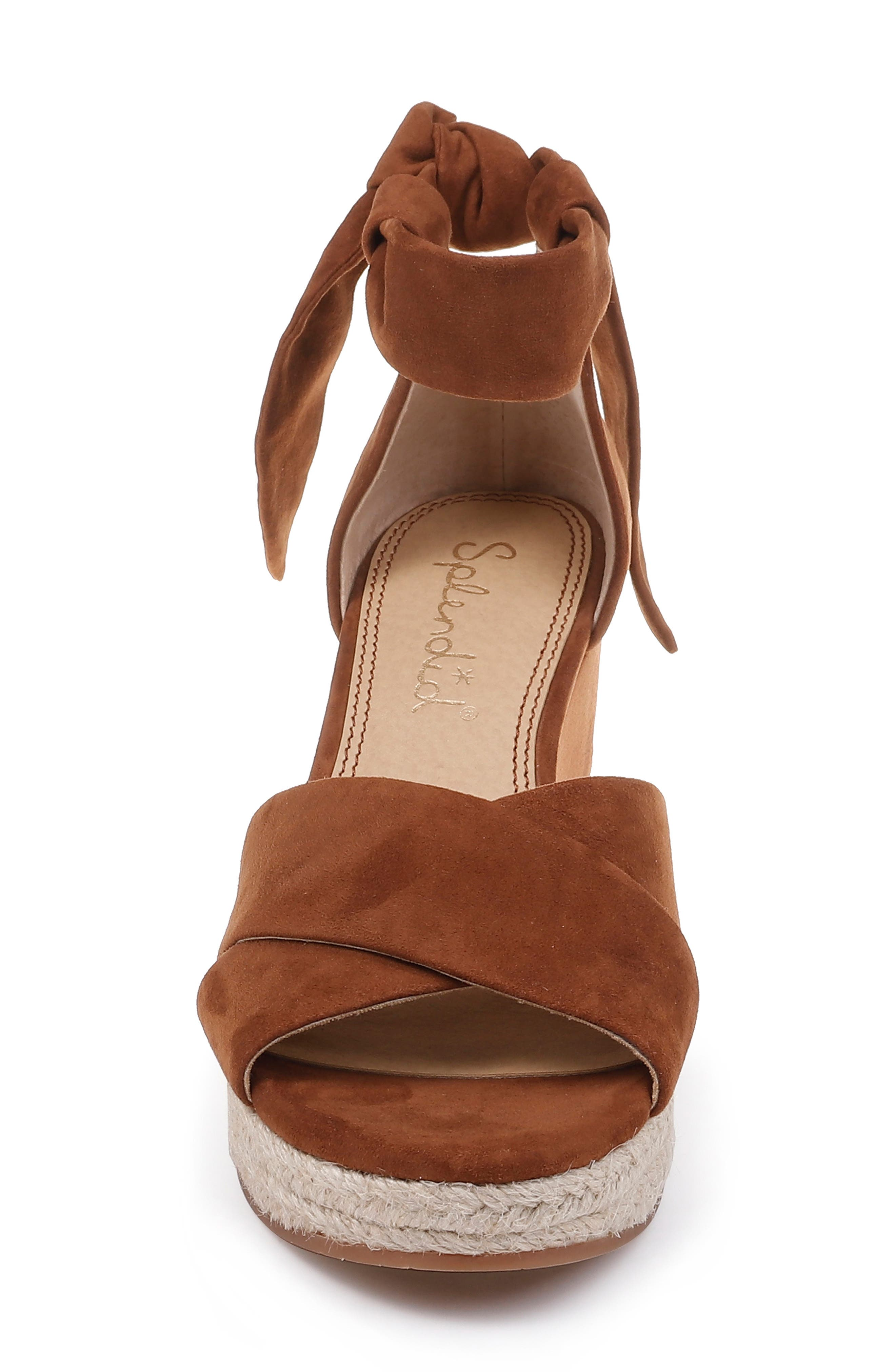SPLENDID, Terrence Ankle Wrap Wedge Sandal, Alternate thumbnail 4, color, CHESTNUT SUEDE