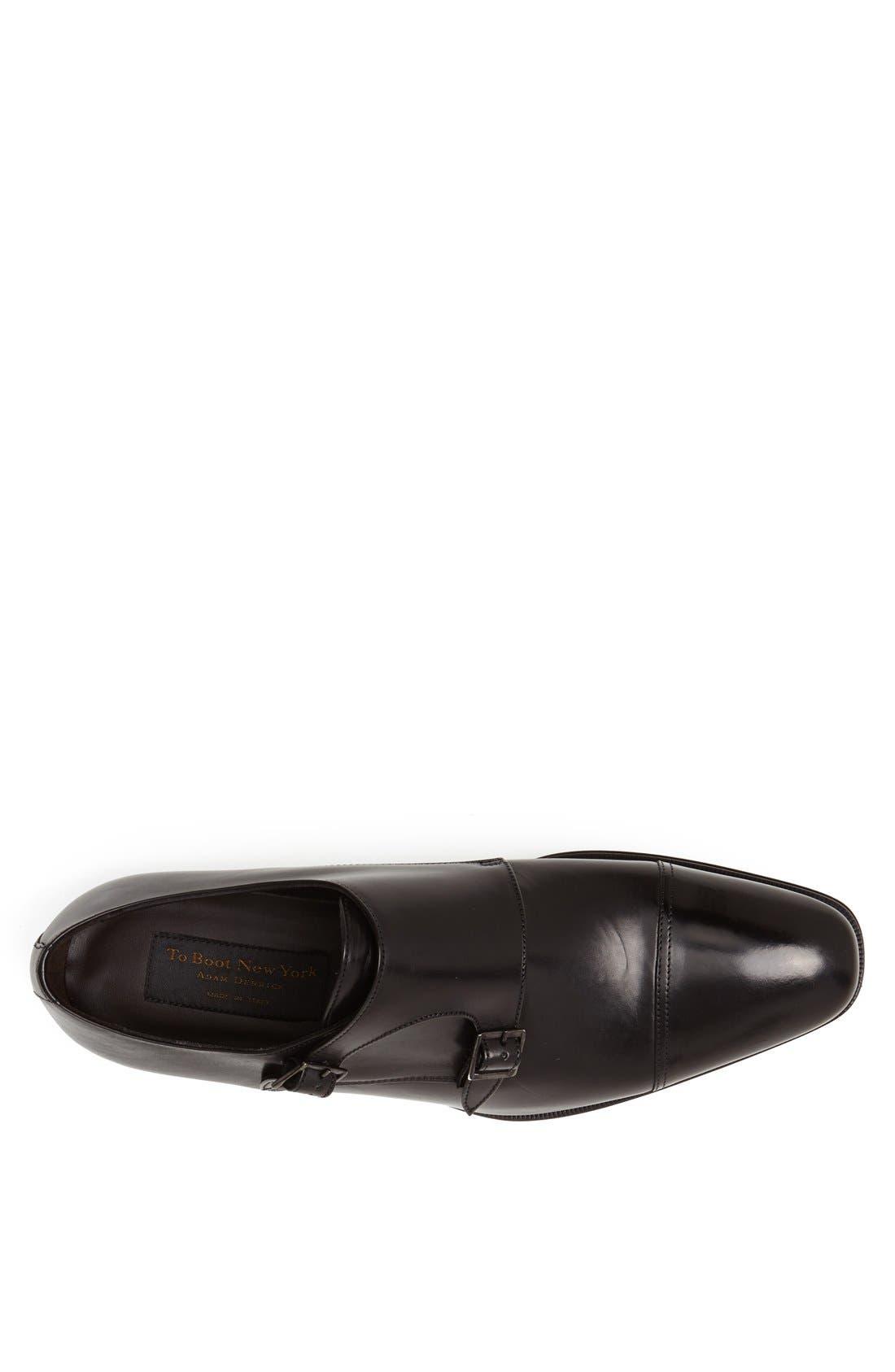 TO BOOT NEW YORK, 'Grant' Double Monk Shoe, Alternate thumbnail 4, color, BLACK CALFSKIN