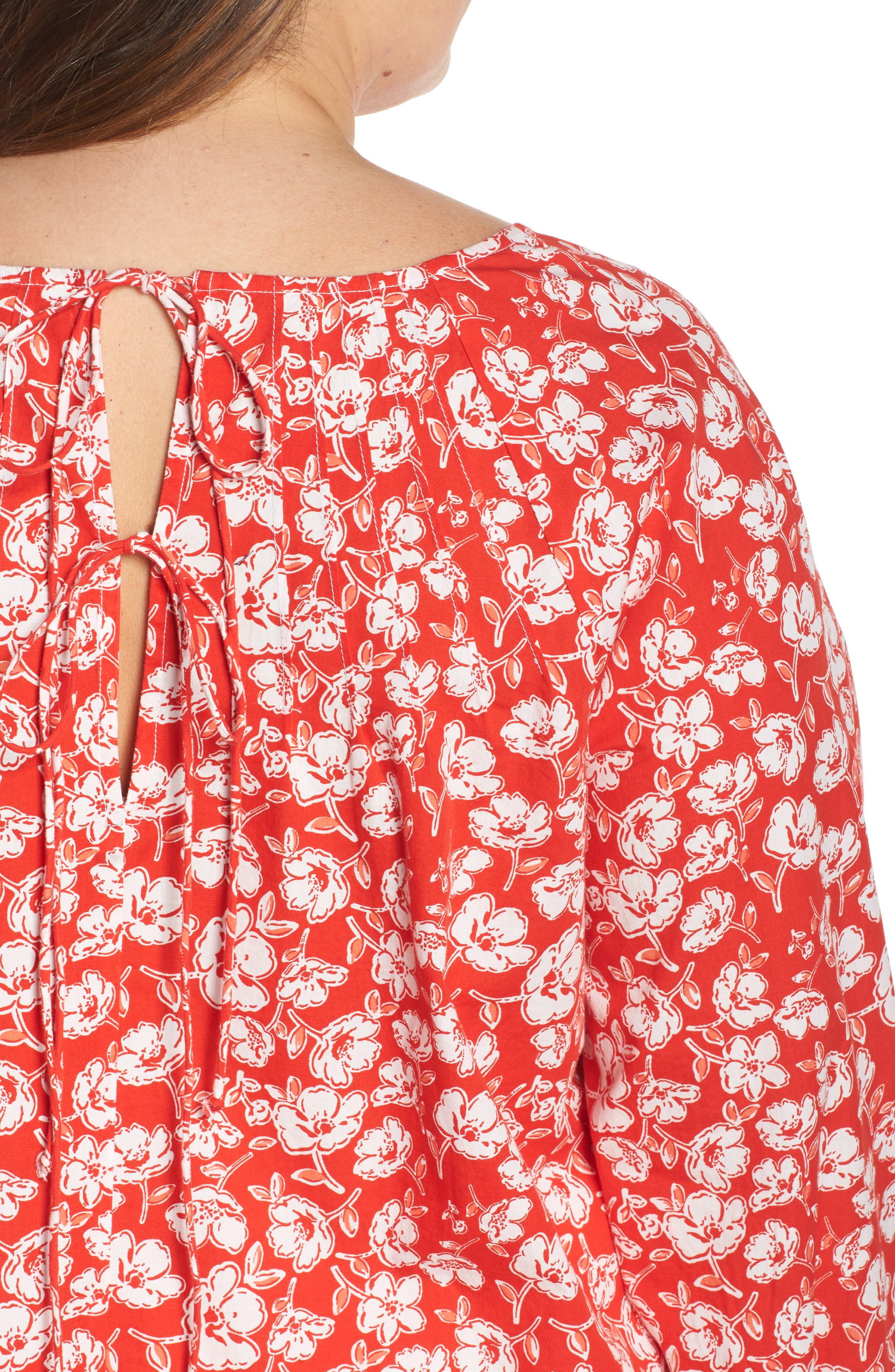 CASLON<SUP>®</SUP>, Floral Print Pintuck Pleat Top, Alternate thumbnail 4, color, RED SCARLET FLORAL